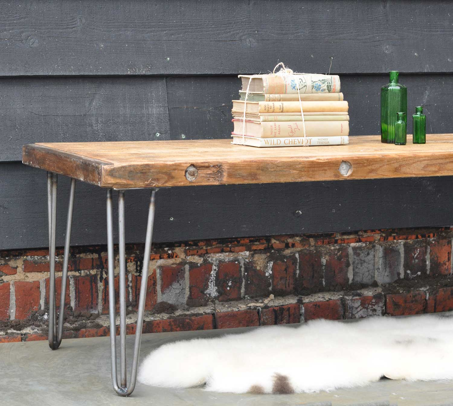 Industrial Vintage Coffee Table With Hairpin Legs And Original Top