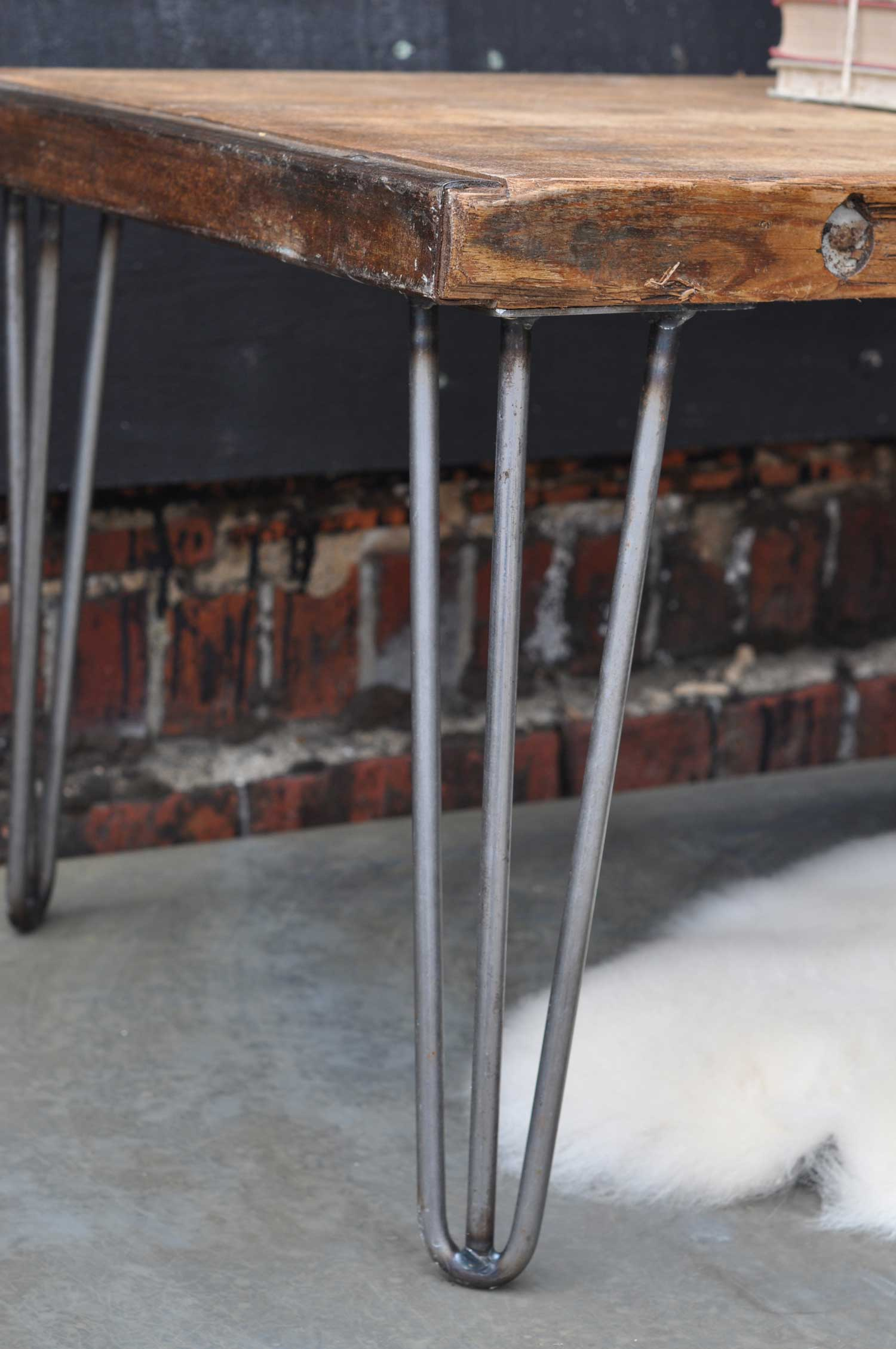 Industrial Vintage Coffee Table With Hairpin Legs And Original Top Home Barn Vintage