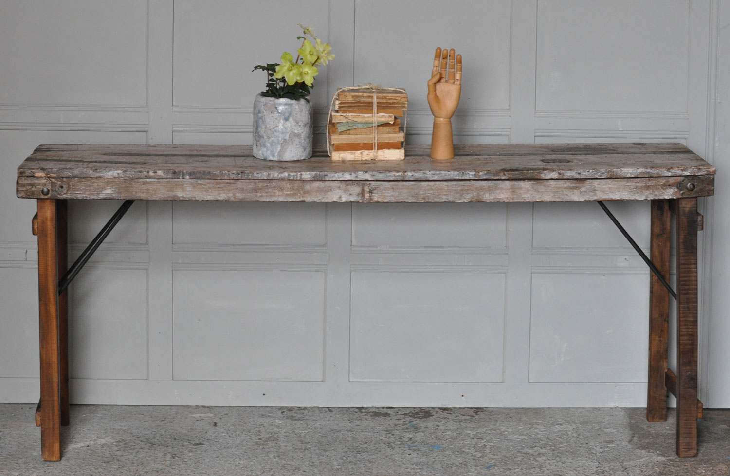Industrial Rustic Reclaimed Folding Console Table