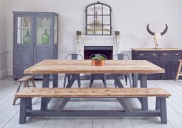 matching industrial salvage timber bench