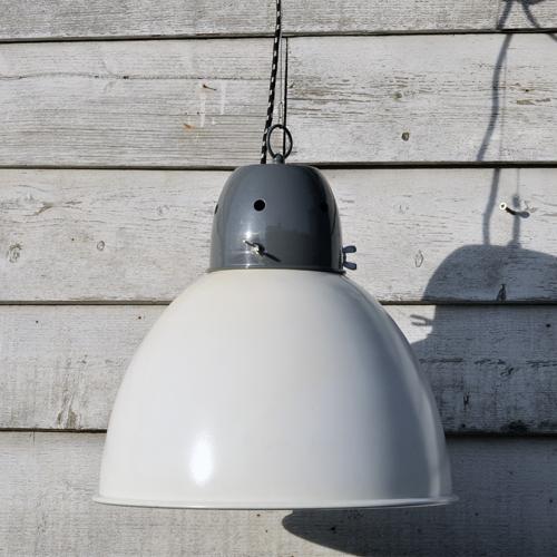 Large Industrial Spun Metal Pendant Lamp Shade White