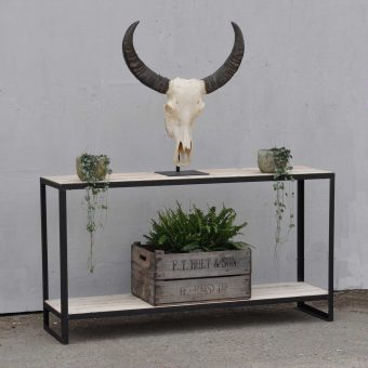 Industrial Steel And Salvaged Timber Console With Shelf