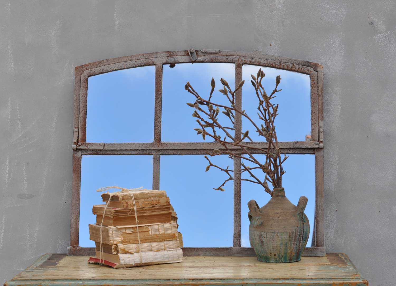 Industrial warehouse six pane window mirror home barn for Industrial windows for homes