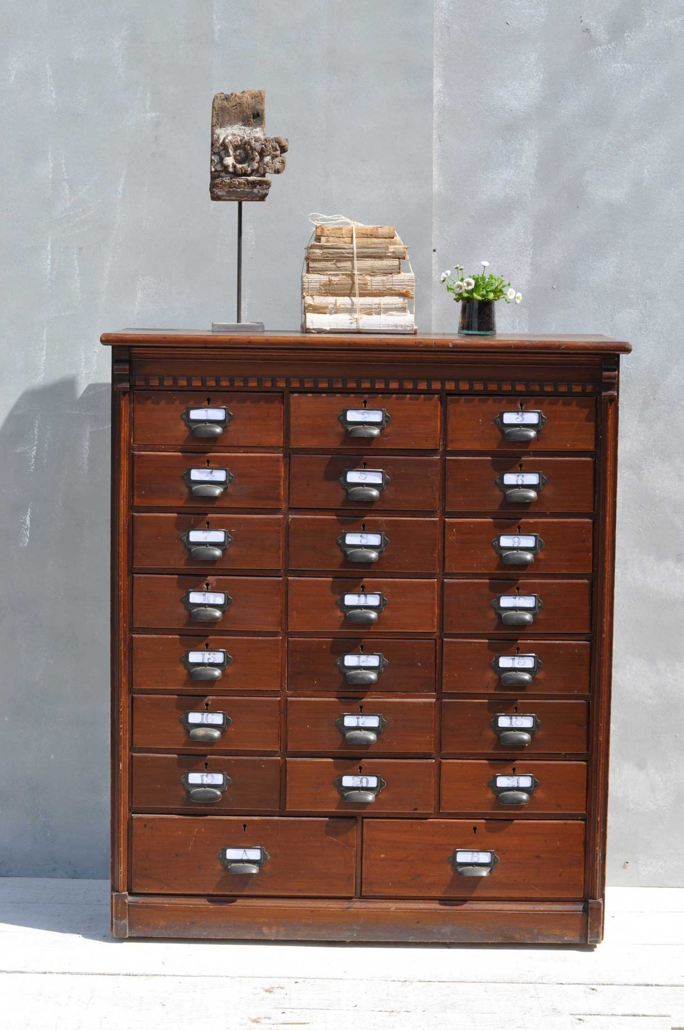 Multi Drawer Dark Wood Filing Cabinet - Home Barn Vintage