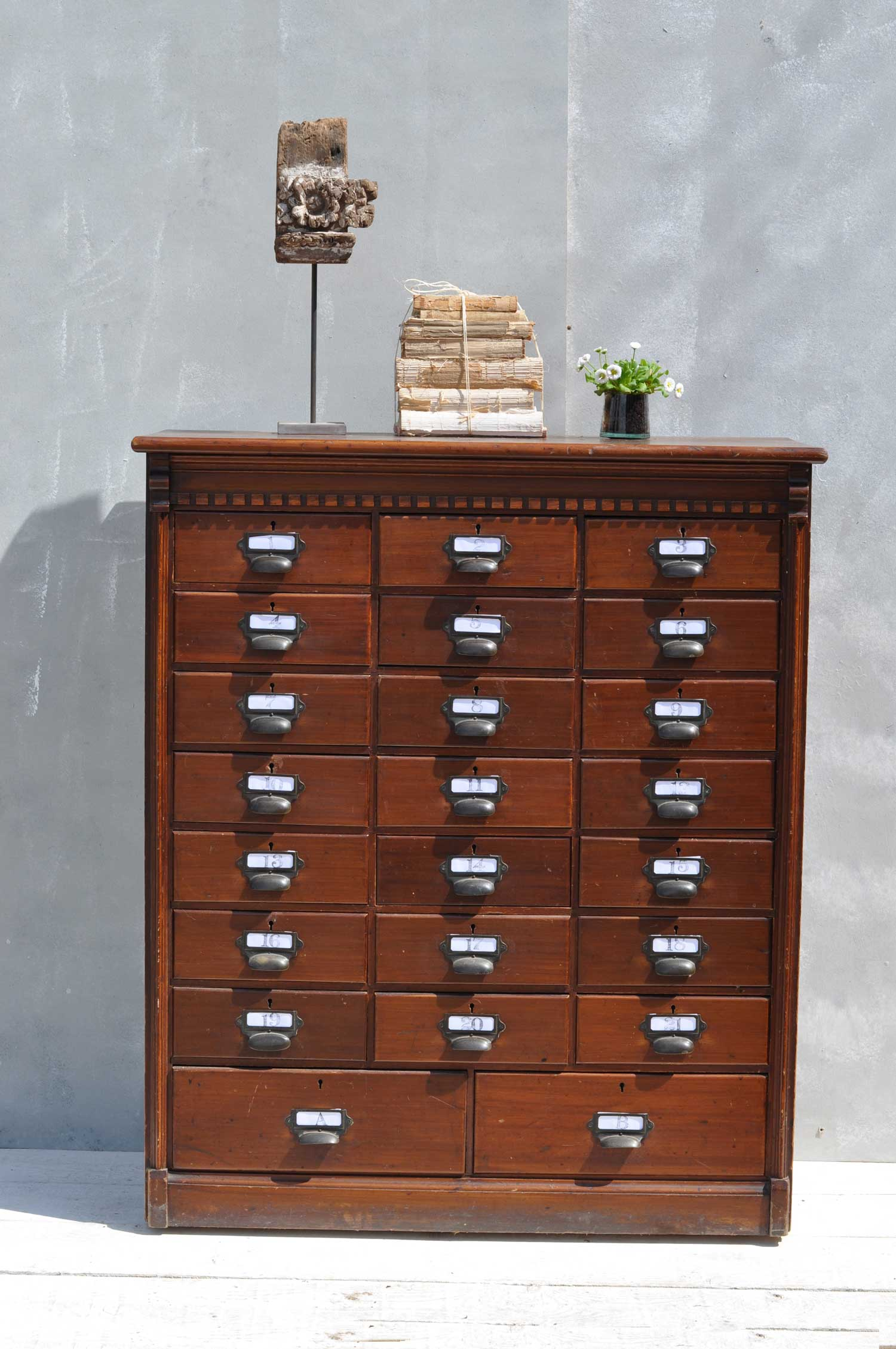 Victorian Home Library: Multi Drawer Dark Wood Filing Cabinet