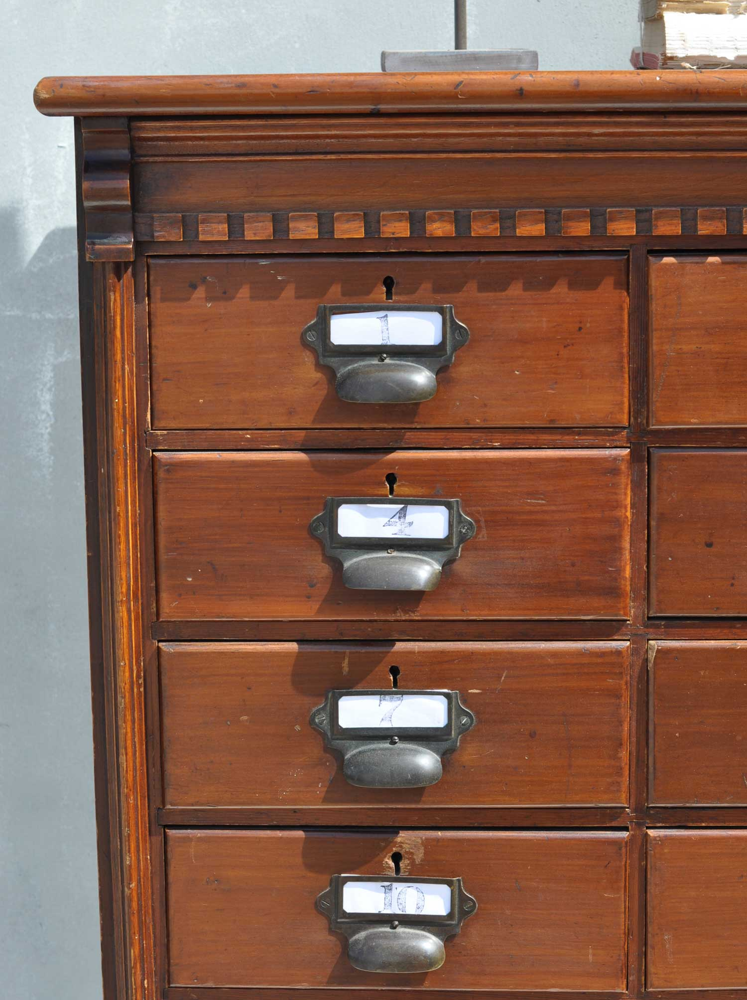Multi drawer dark wood filing cabinet home barn vintage