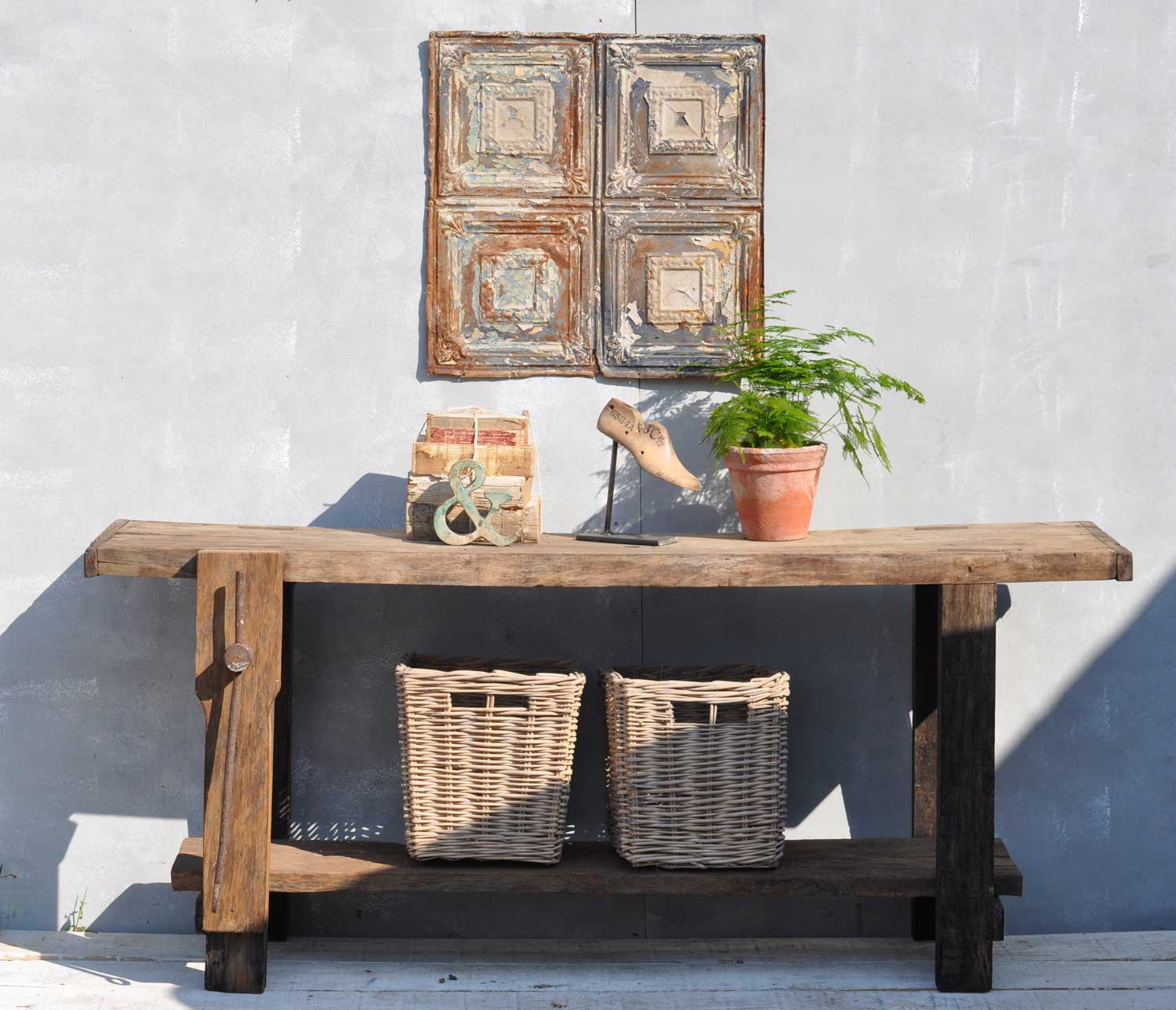 Vintage Solid Oak Console Table Work Bench With Vice