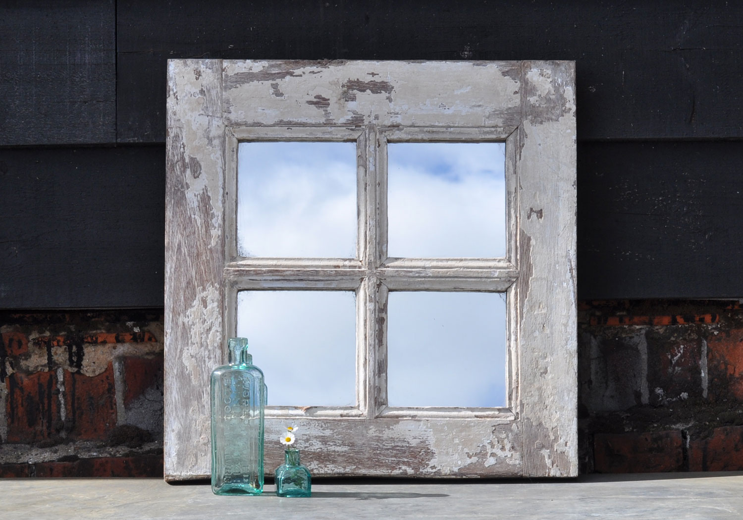 Reclaimed rustic antique window mirror small square home for Rustic mirror