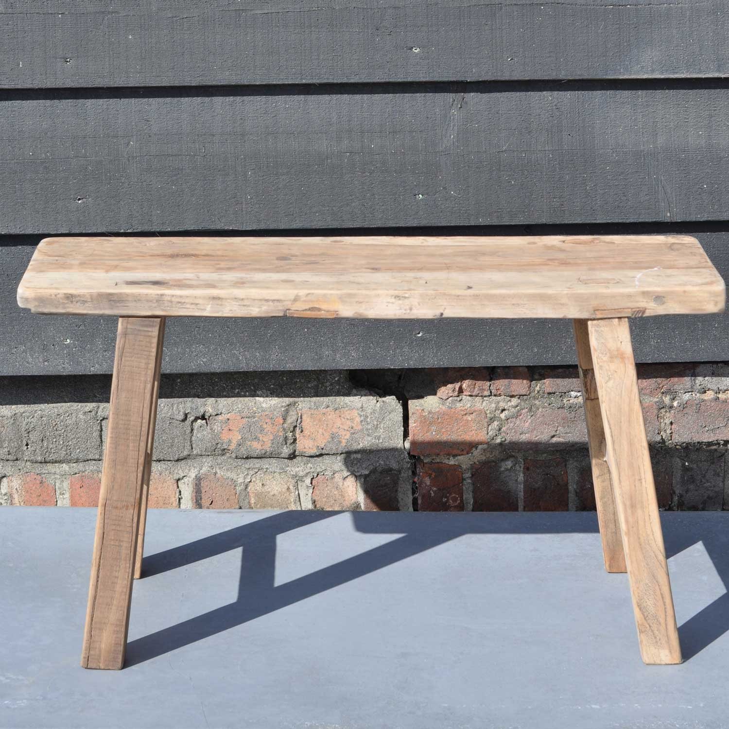 Reclaimed Small Rustic Trestle Bench In Solid Elm Home