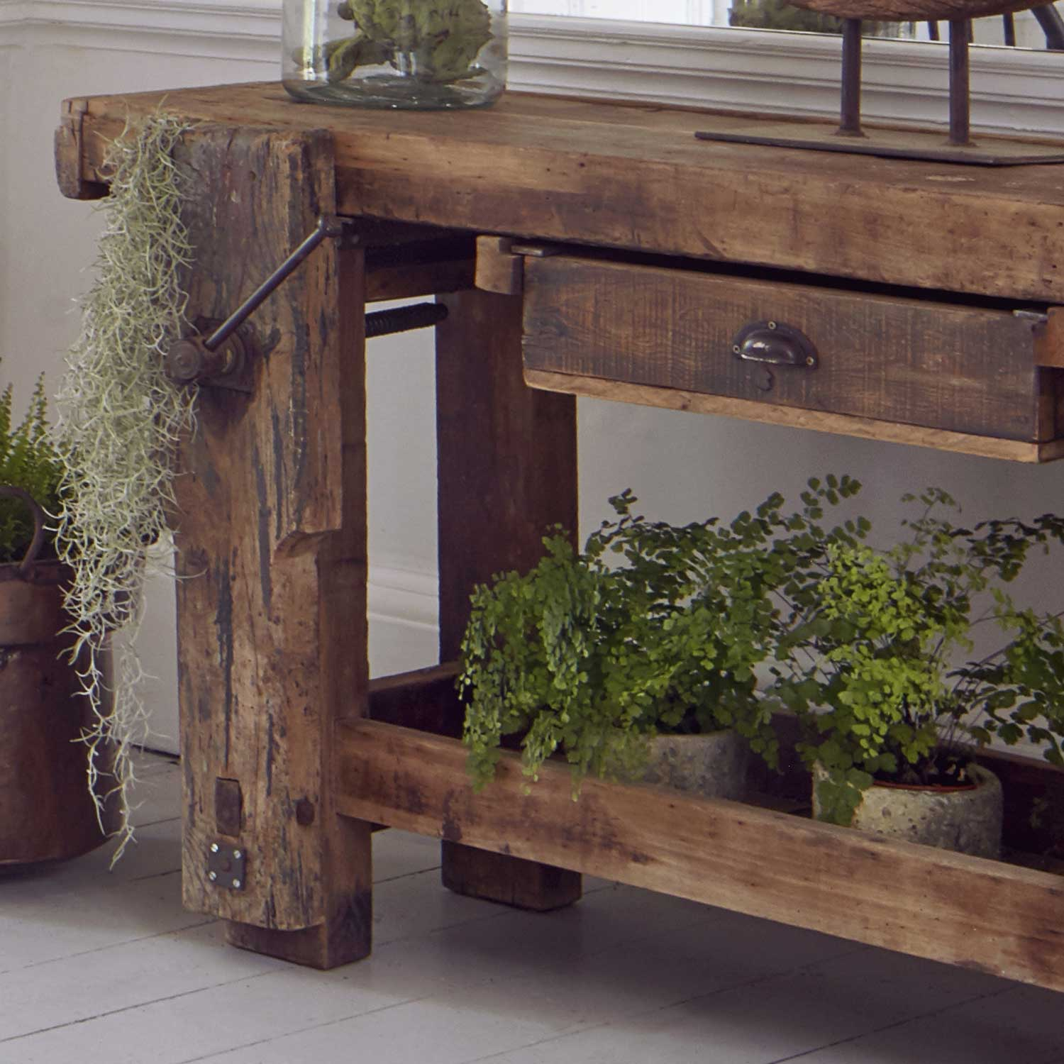 Vintage Solid Oak Console Table Work Bench With Drawer