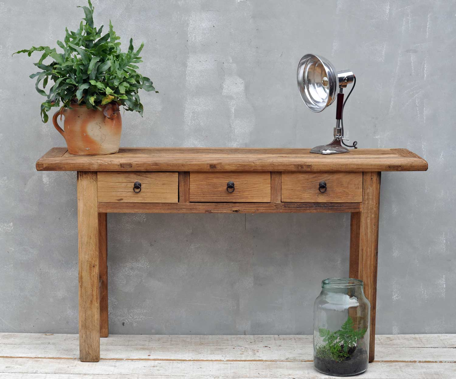 Reclaimed Rustic Solid Elm Three Drawer Console Table Home Barn Vintage