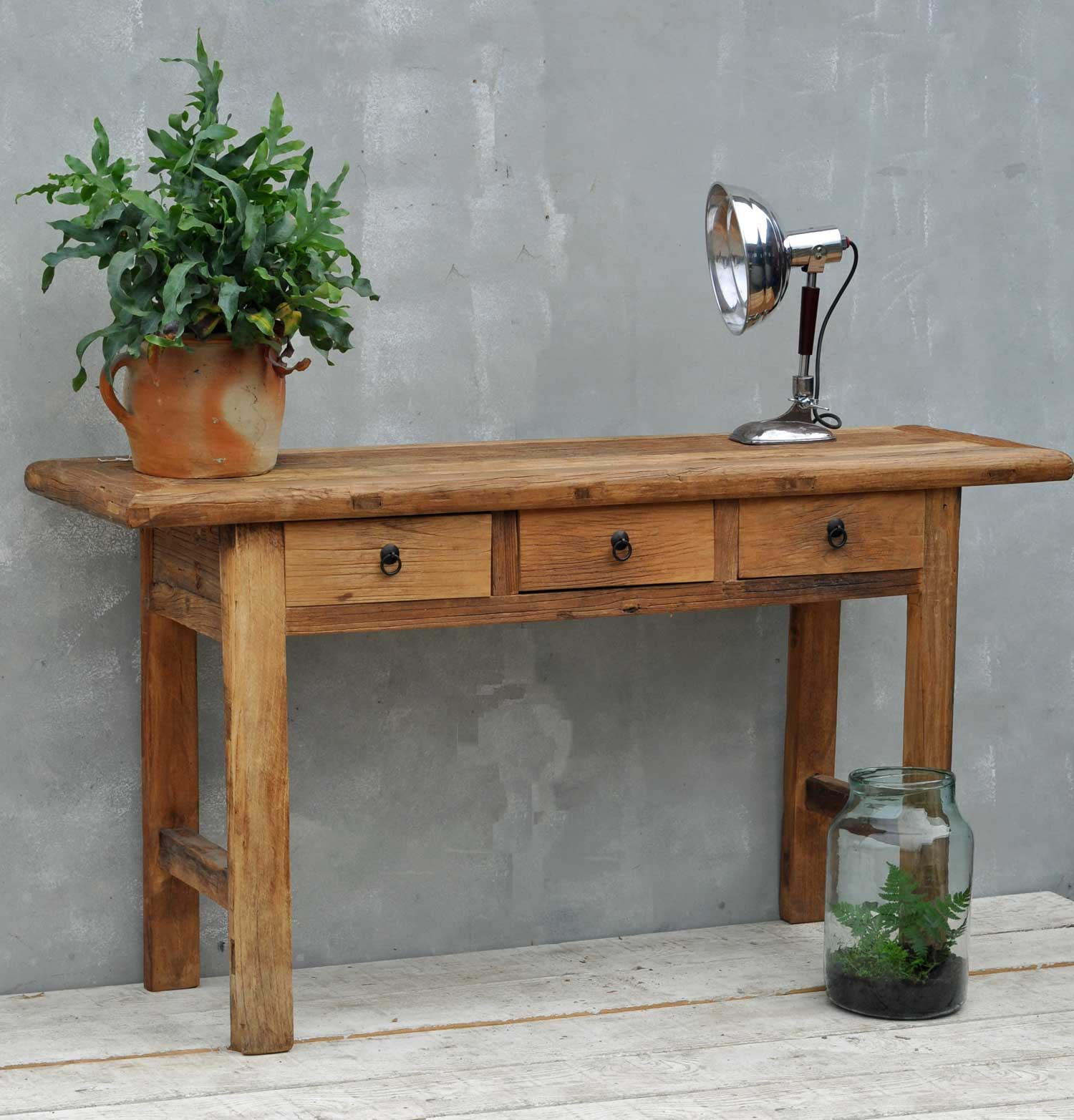 Reclaimed Rustic Solid Elm Three Drawer Console Table