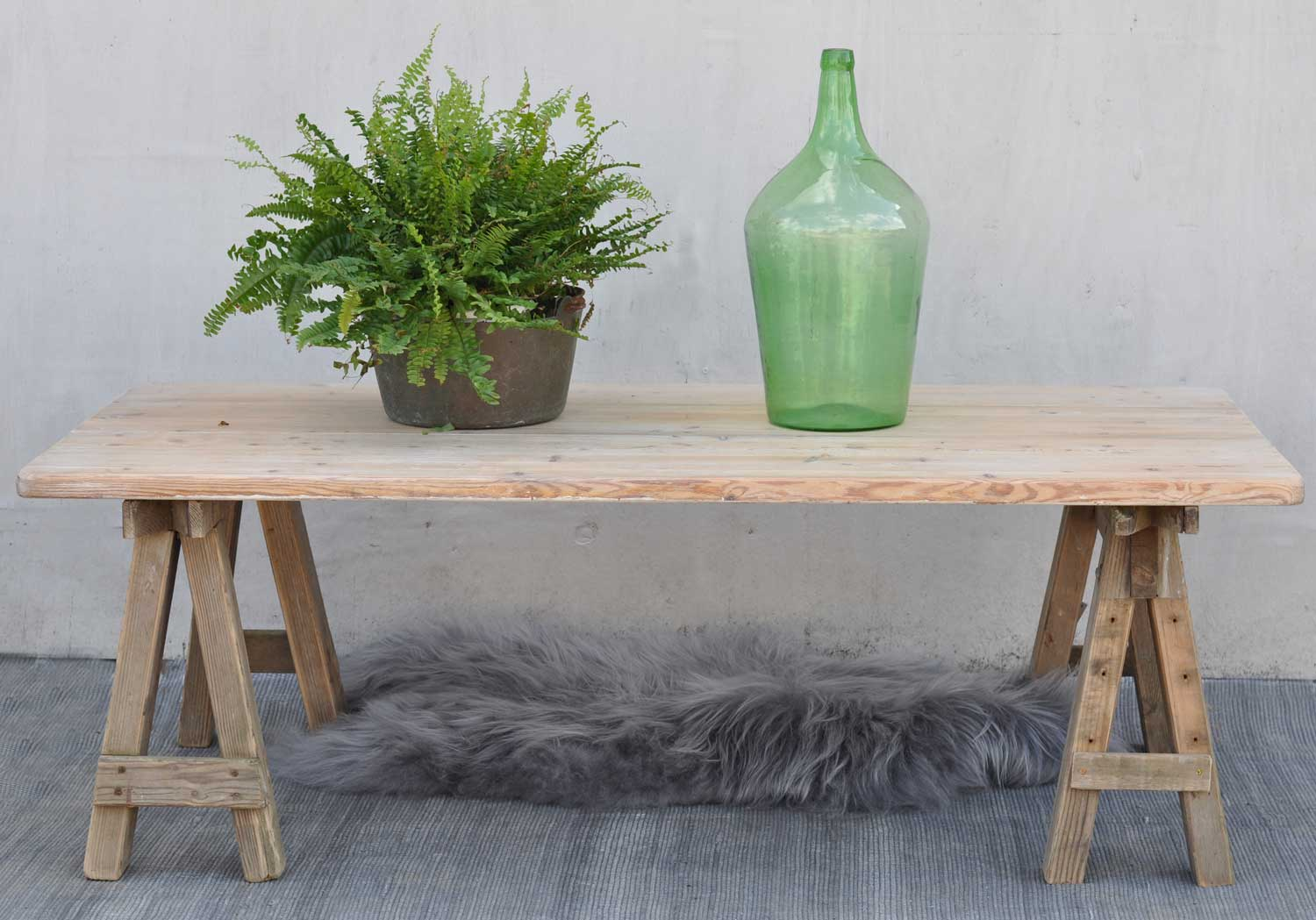 Reclaimed wood Carpenter's trestle leg coffee table with reclaimed top