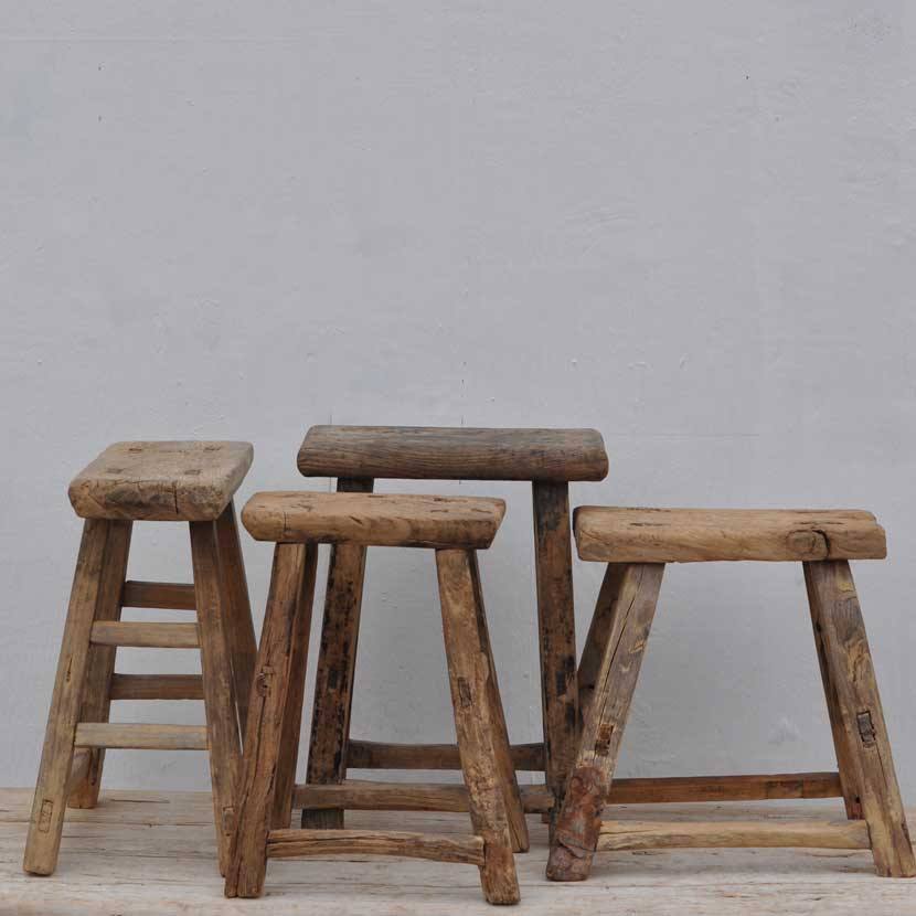 Rustic Antique Wooden Stool Home Barn Rustic Seating