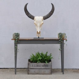 Copper Topped Hand Crafted Slim Console Table