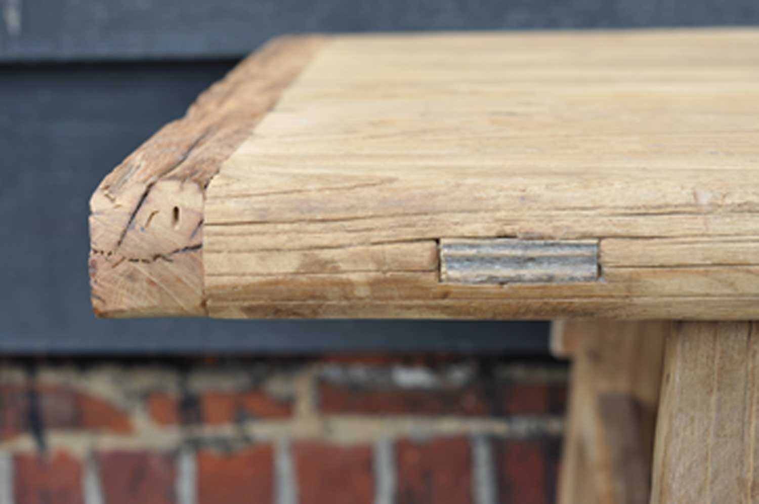 Rustic Reclaimed Elm Coffee Table With Rail Amp Stretcher