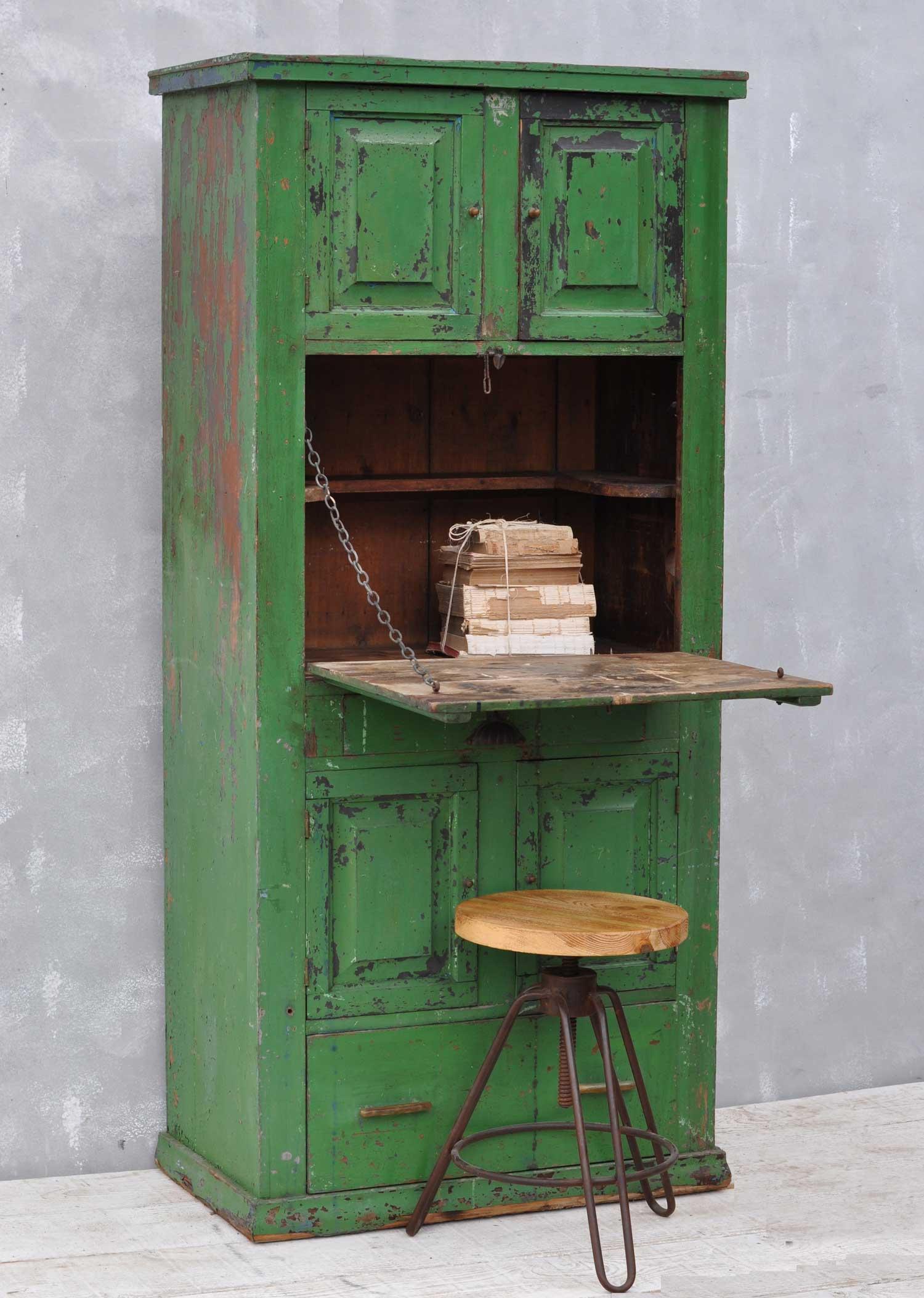 Beau Rustic Vintage Bureau Tall Cabinet Original Green Paintwork