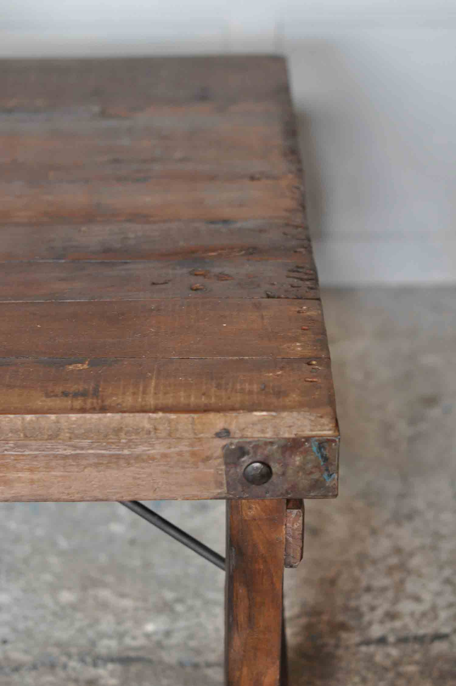 Rustic Vintage Coffee Table With Metal Tin Patchwork