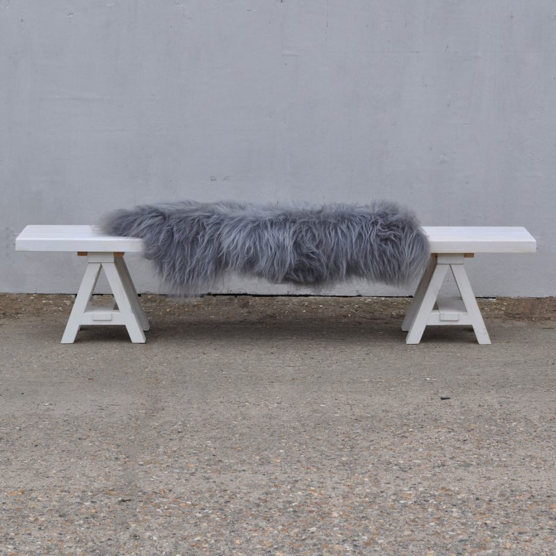 Matching Scandinavian Inspired white wash solid timber trestle bench