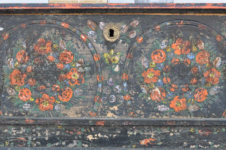 Swedish Folk Art Style Hand Painted Antique Blanket Box