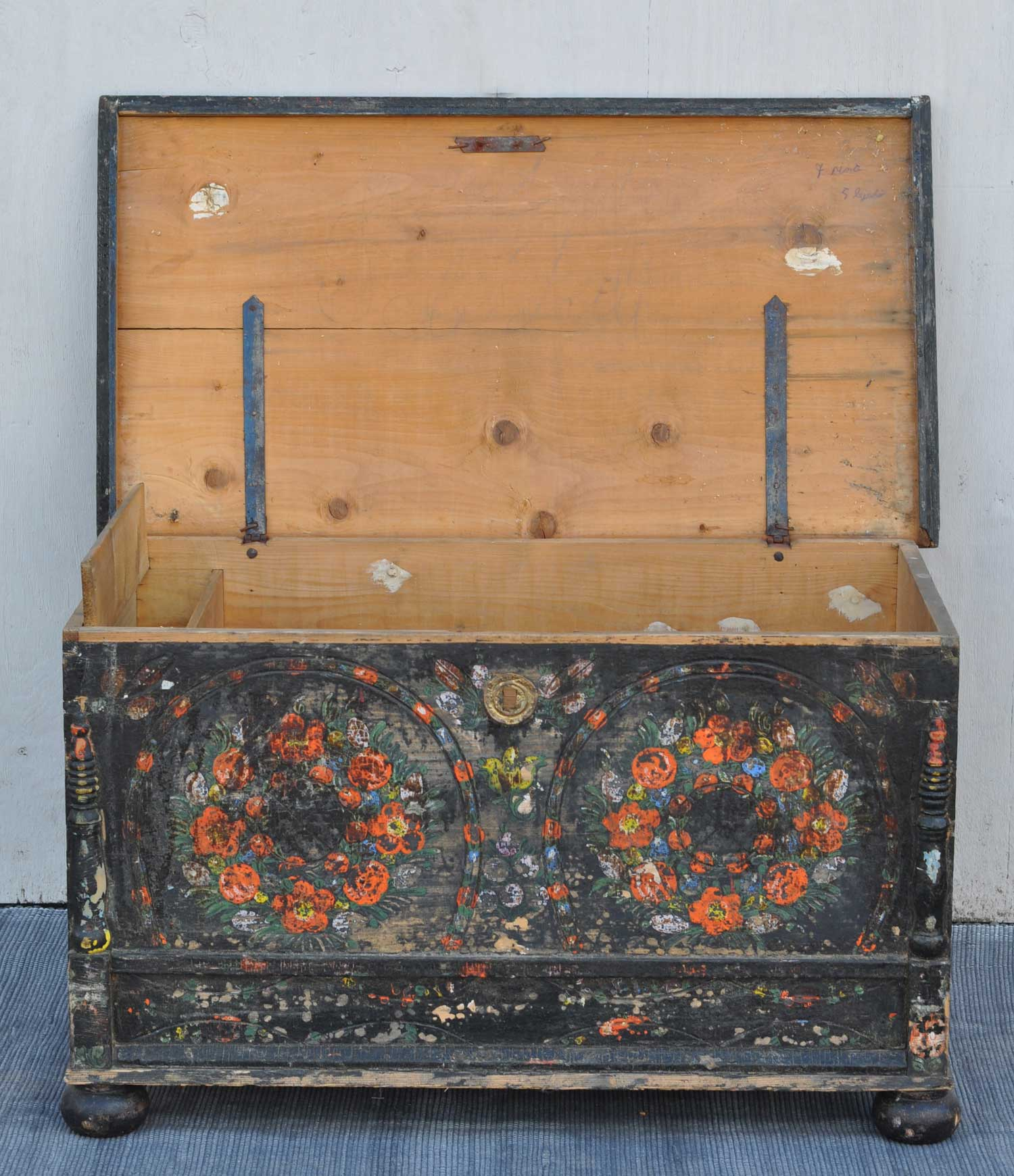 Decorative Trunk Boxes: Swedish Folk Art Style Hand Painted Antique Blanket Box