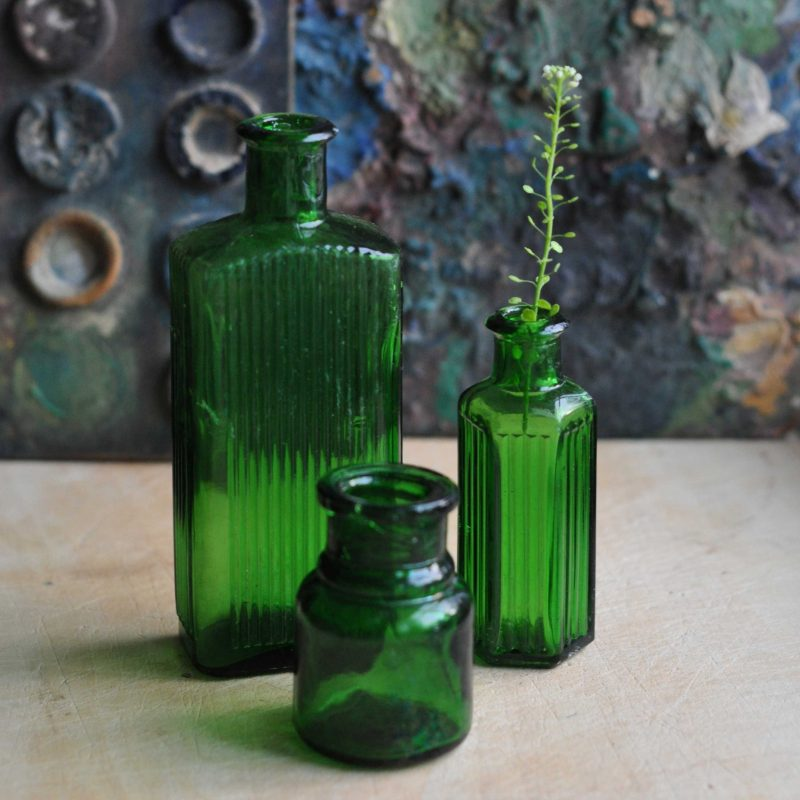 Three Green Antique Medicine Apothecary Bottles