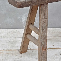Reclaimed Solid Elm Trestle Based Rustic Bench