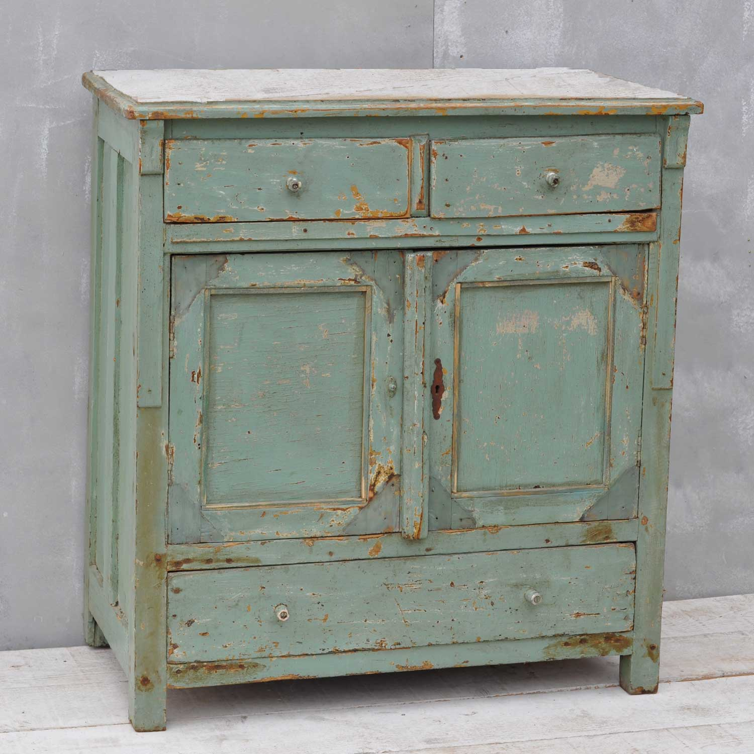 Vintage French Cupboard Aquamarine Green Cabinet