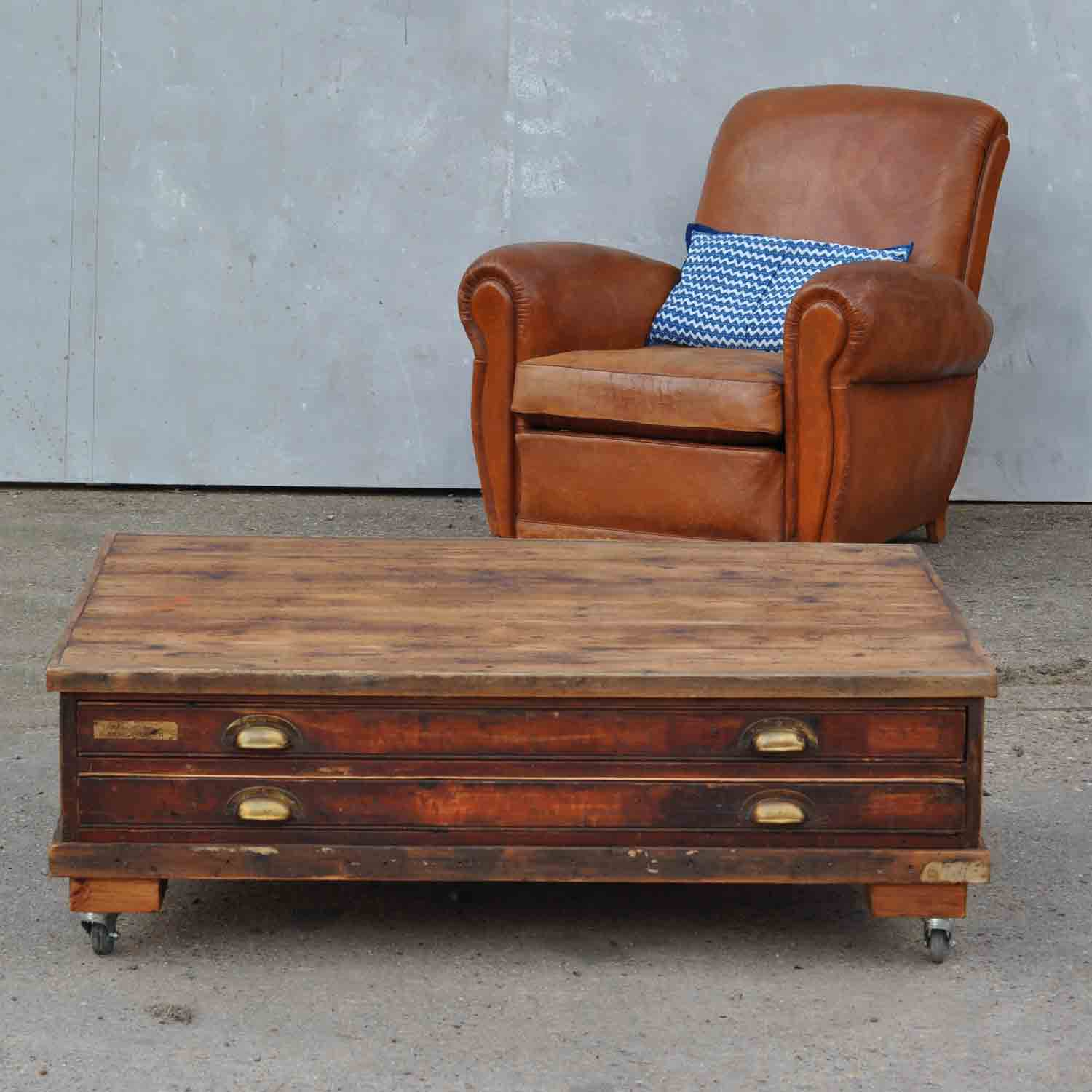 Vintage Plan Chest Coffee Table On Wheels