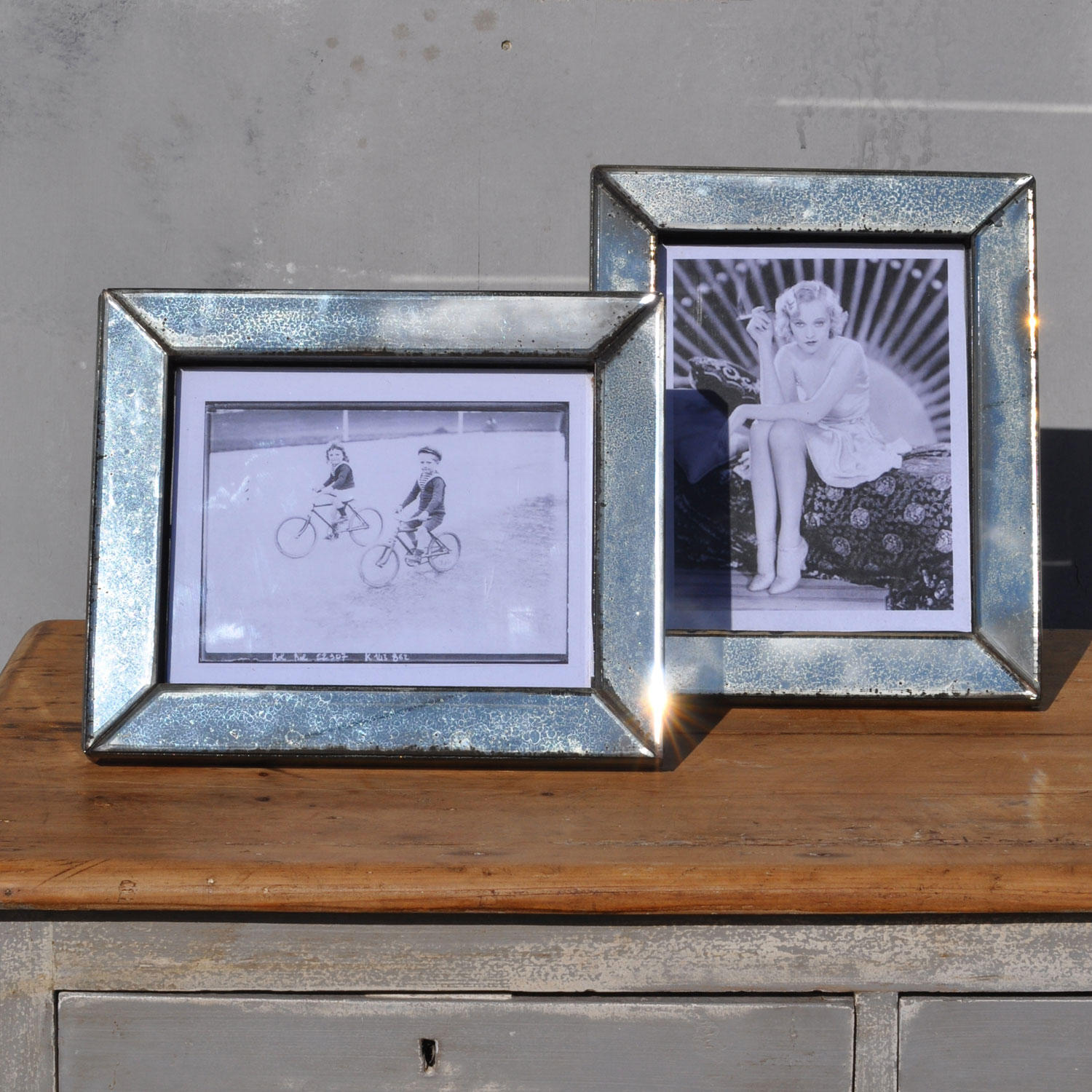 Eglomise Art Deco Antiqued Mirror Picture Frame Home Barn Vintage