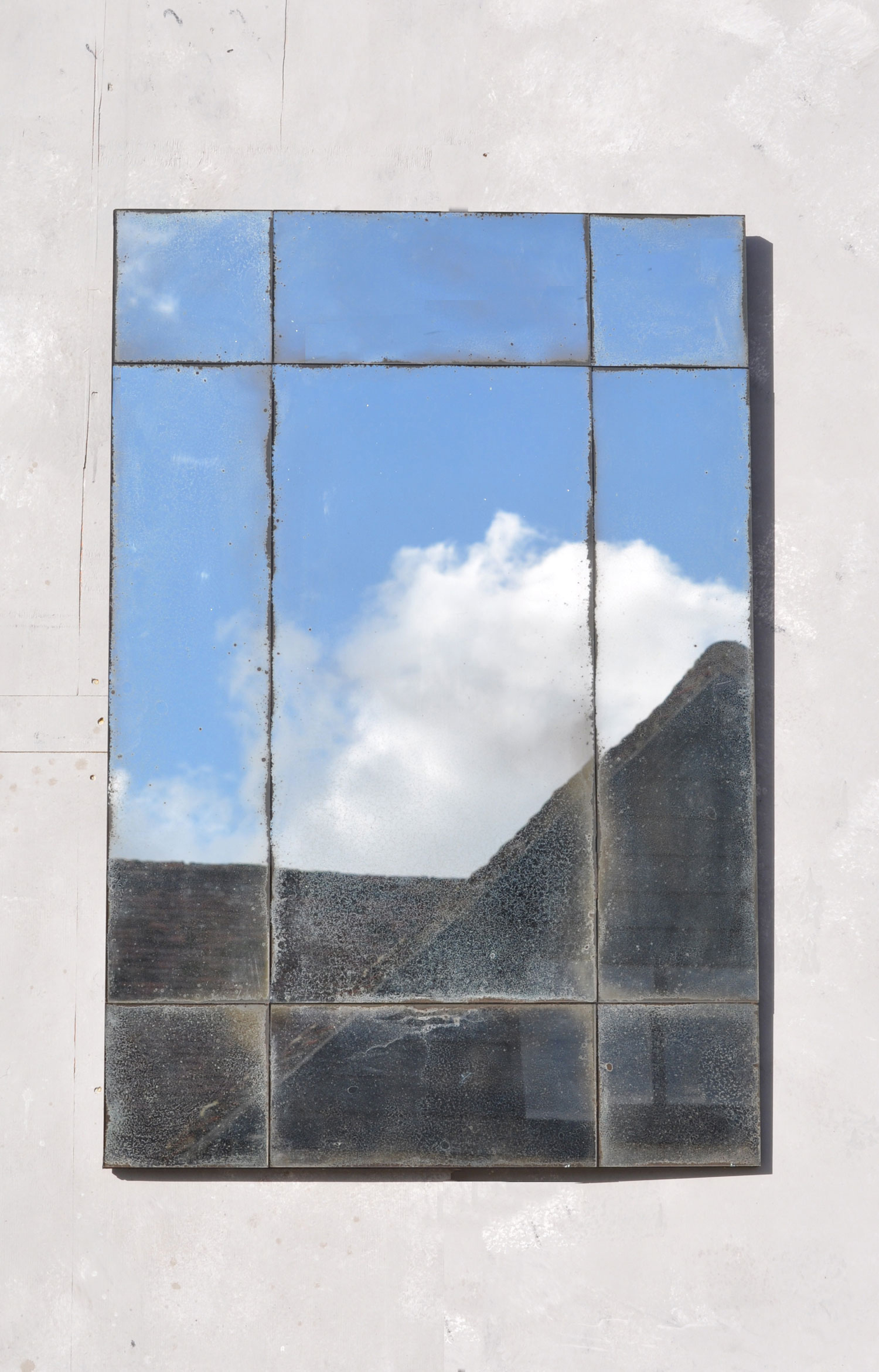 Verre Eglomise Art Deco Style Aged Speckled Mirror Home Barn Vintage