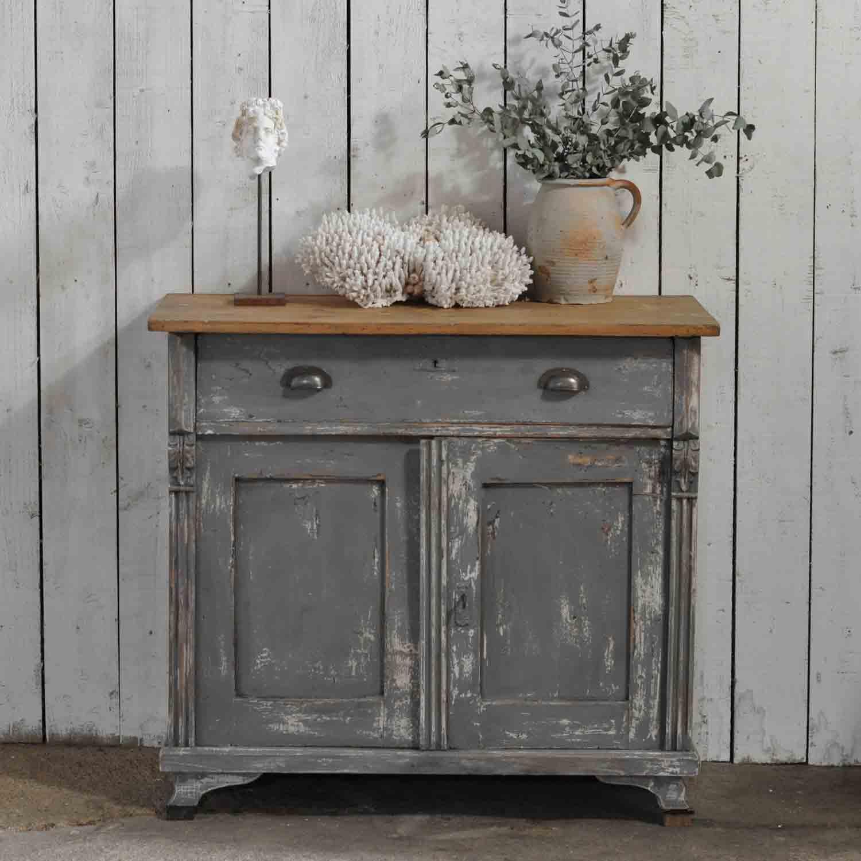 Vintage Distressed Dark Grey Hand Painted European Cupboard Home Barn Vintage