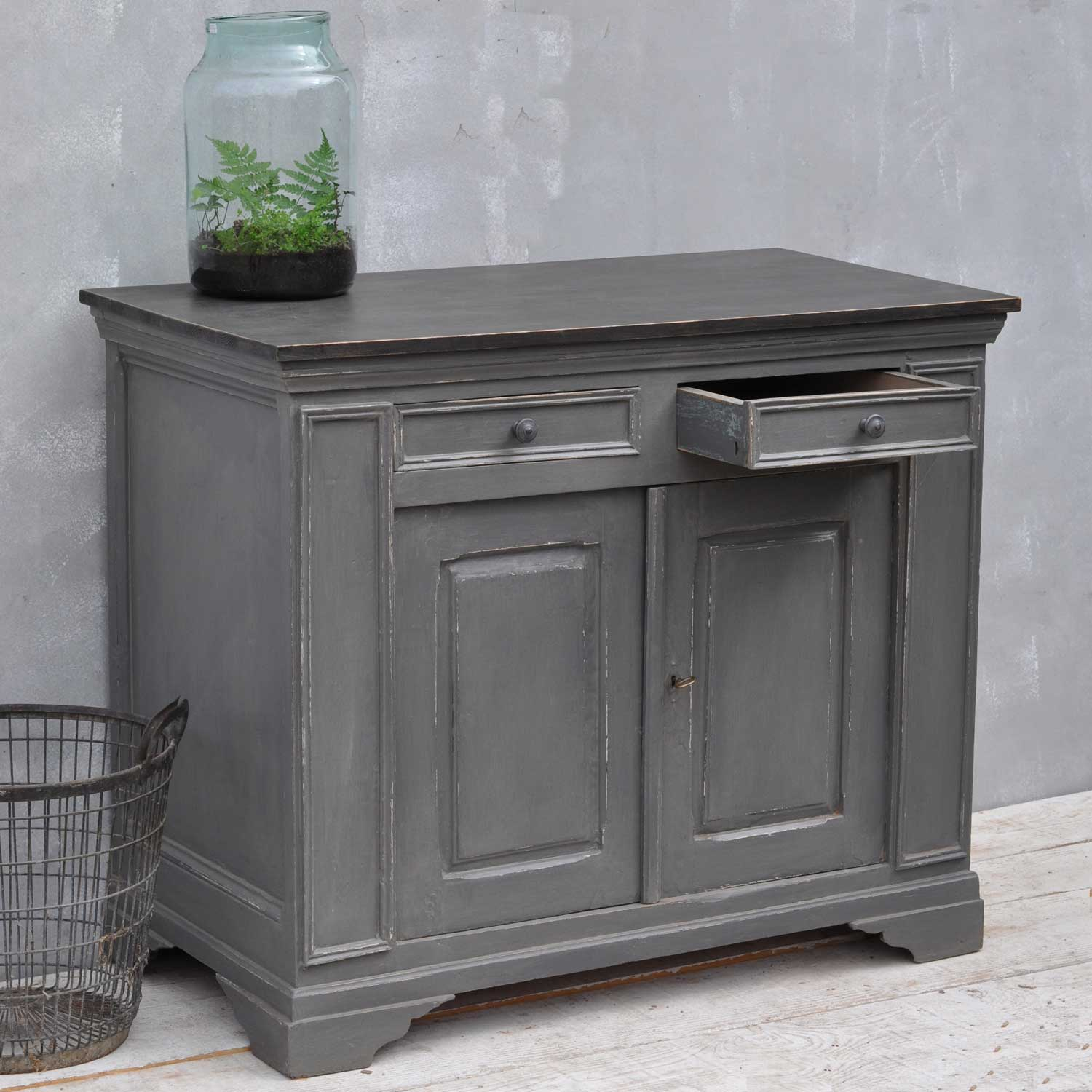 Vintage French Cupboard Grey Hand Painted Cabinet Home Barn Vintage