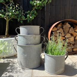 Vintage Galvanised Metal Garden Planter
