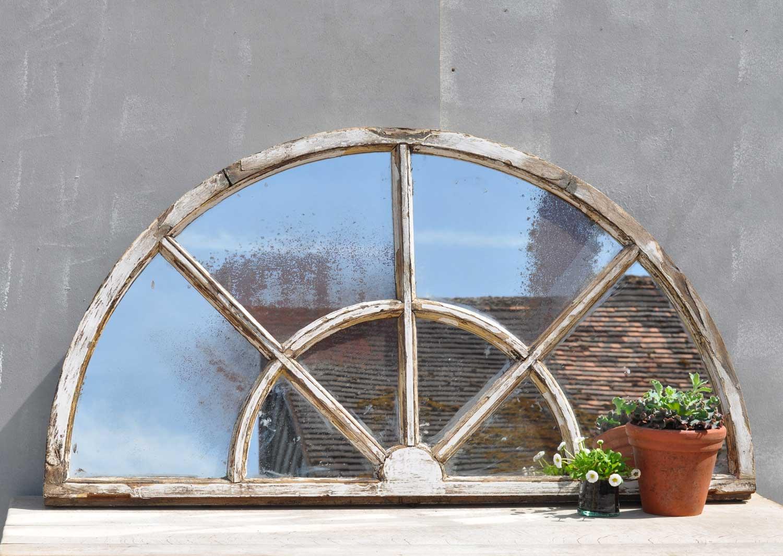 Vintage Arched Half Light Window Mirror Home Barn Vintage