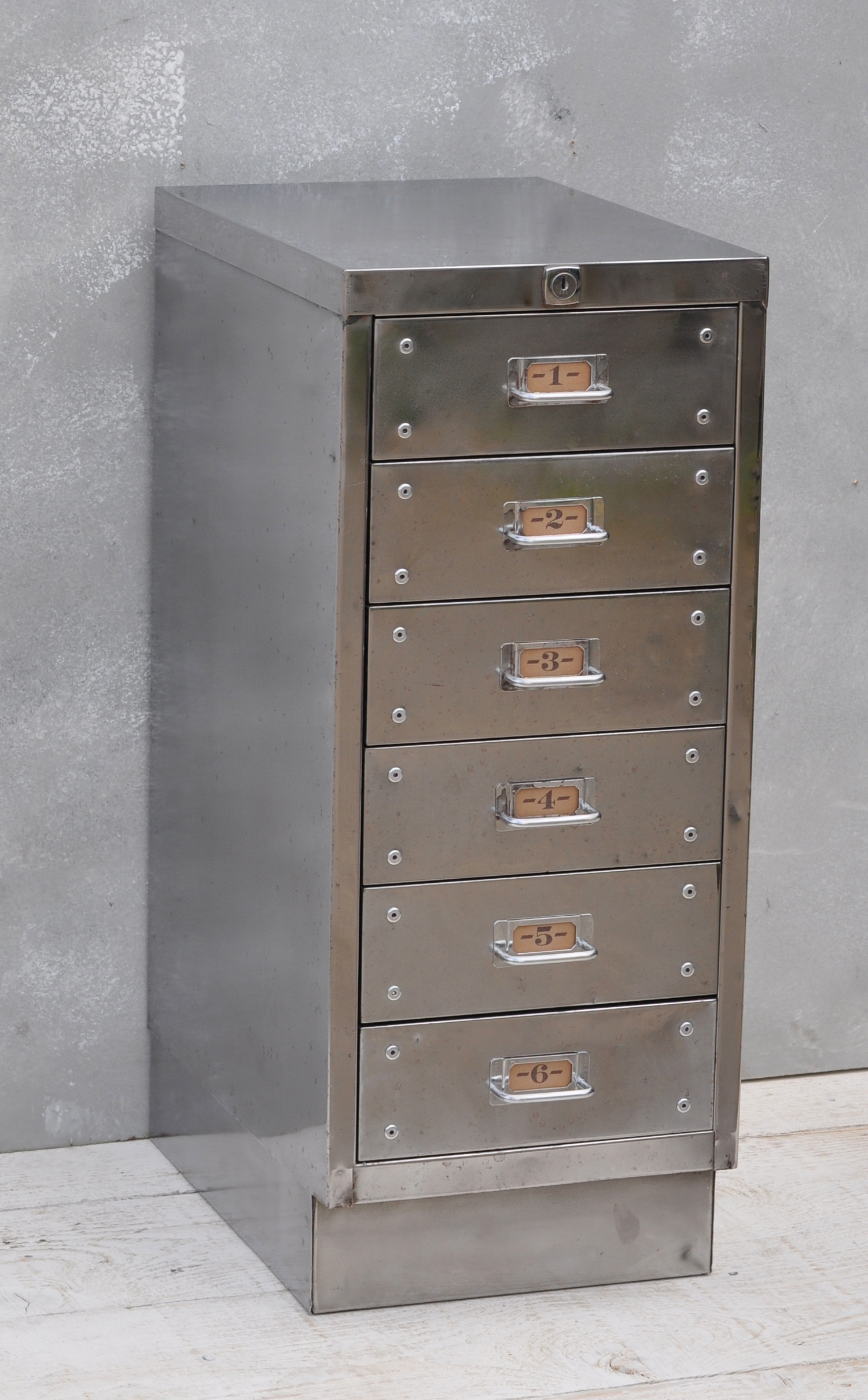 Vintage Industrial Steel Filing Cabinet 6 Drawer Home
