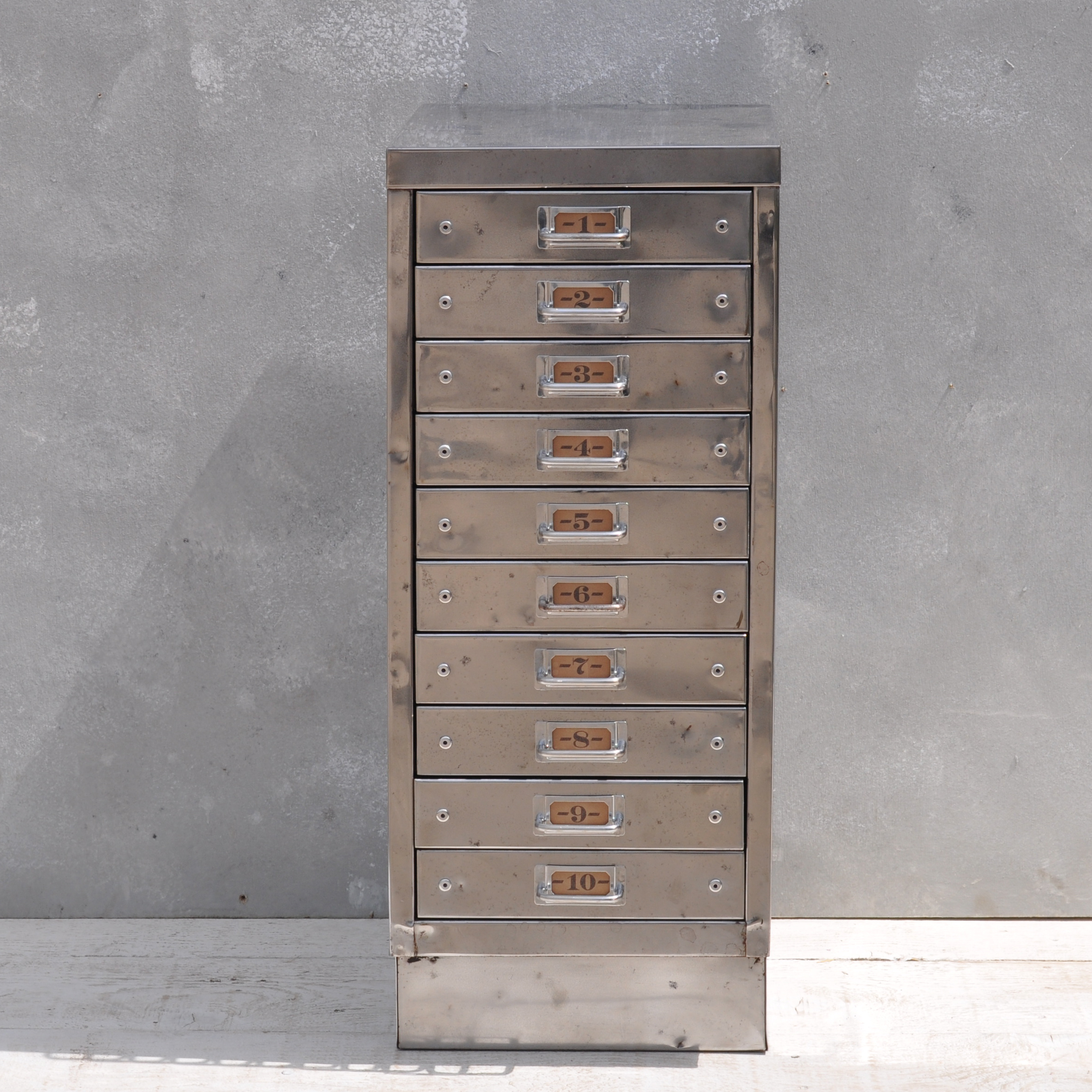 Picture of: Vintage Industrial Steel Filing Cabinet 10 Drawer Home Barn