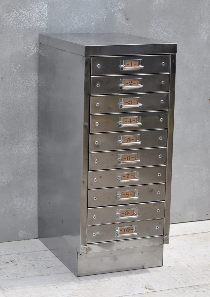Vintage Industrial Steel Filing Cabinet 10 Drawer Home Barn