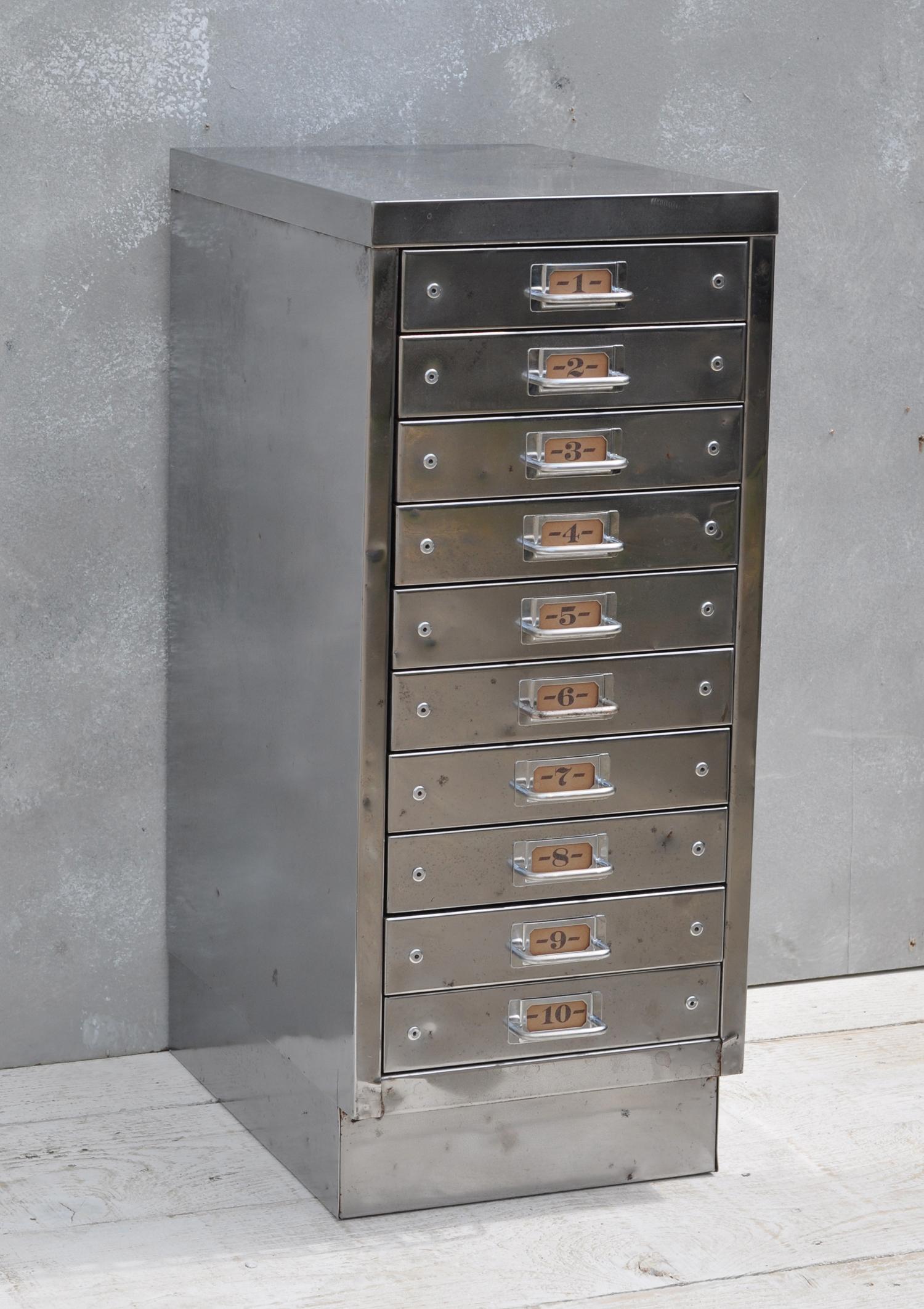 Vintage Industrial Steel Filing Cabinet 10 Drawer Home