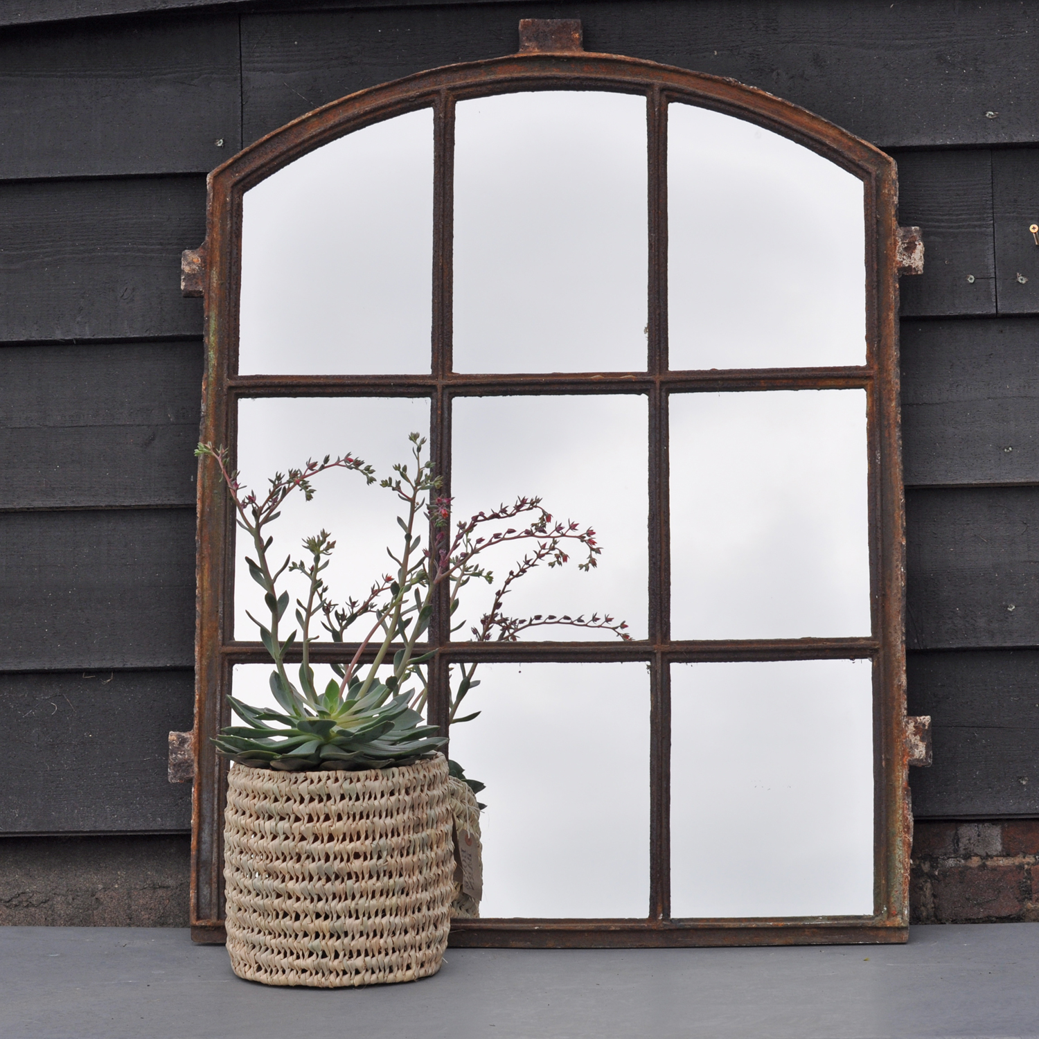 Vintage industrial window pane warehouse mirror home for Industrial windows for homes