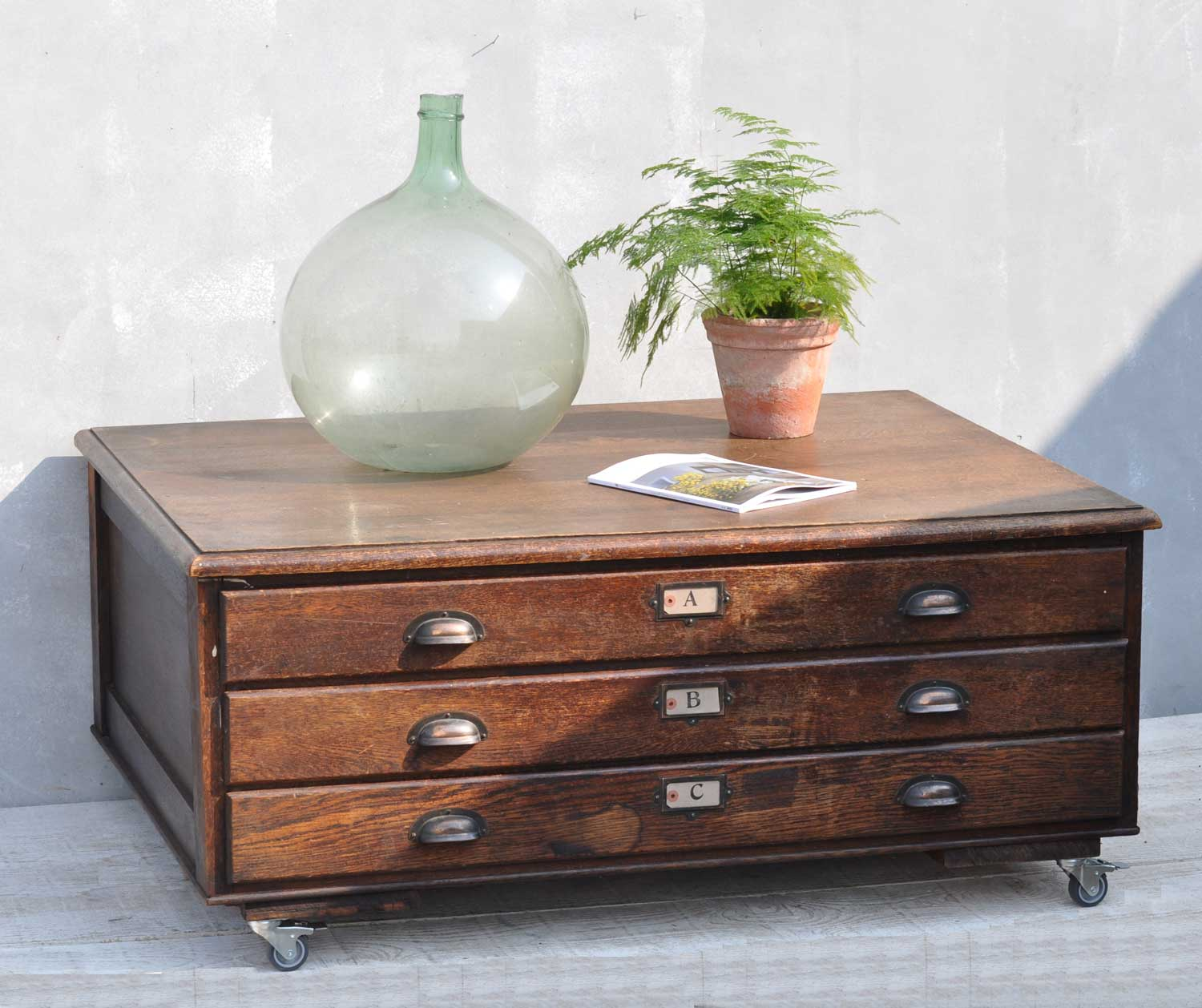 Vintage Oak Plan Chest Coffee Table On Wheels Home Barn Vintage