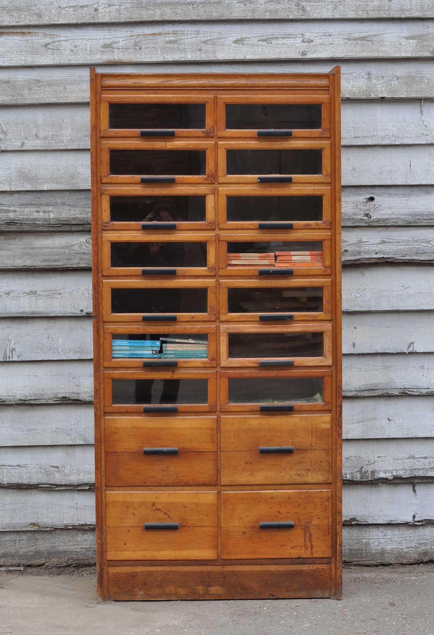 Vintage Oak Haberdashery Cabinet Shop Display