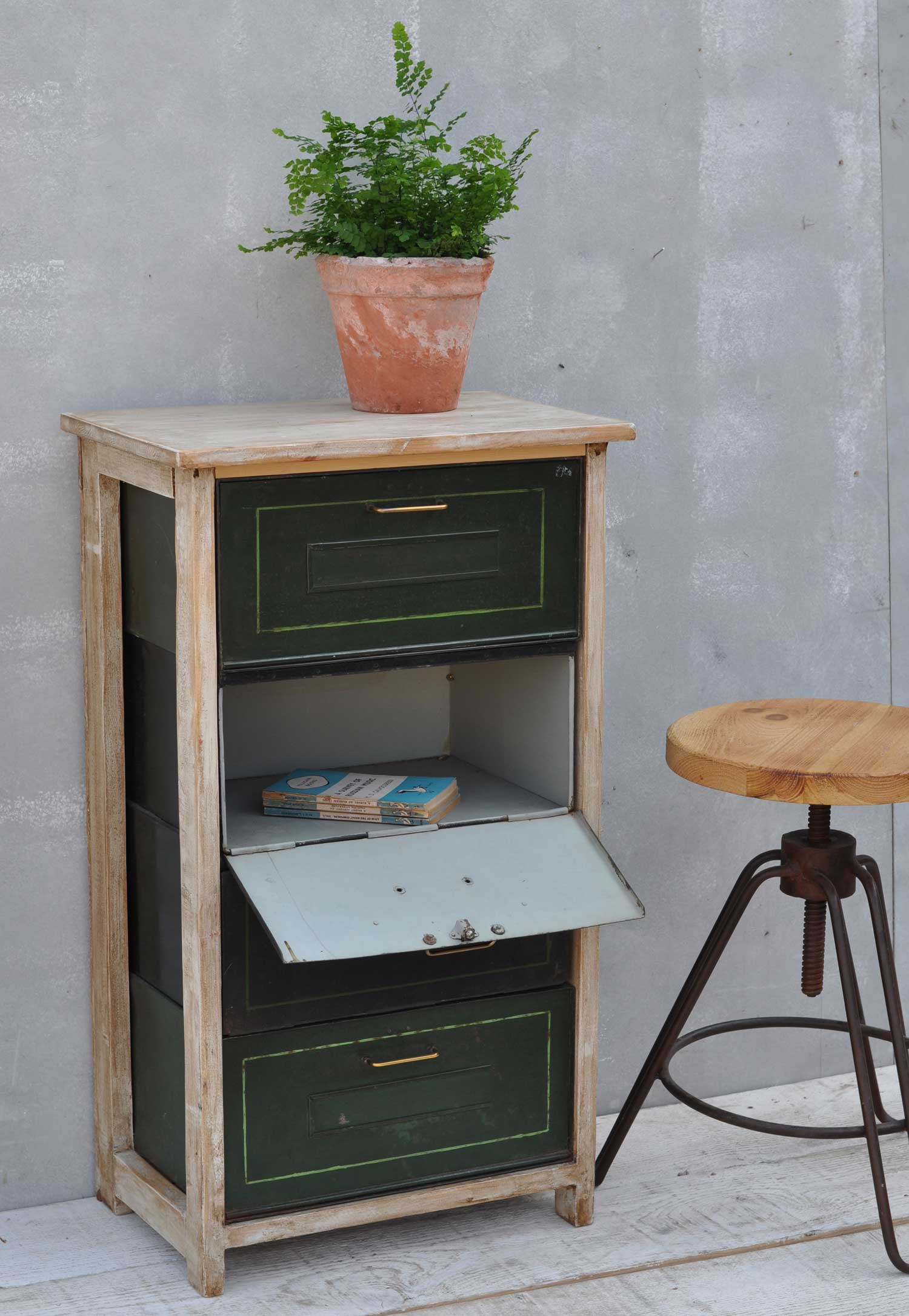 Vintage Pull Down Metal Filing Drawer Cabinet Home Barn