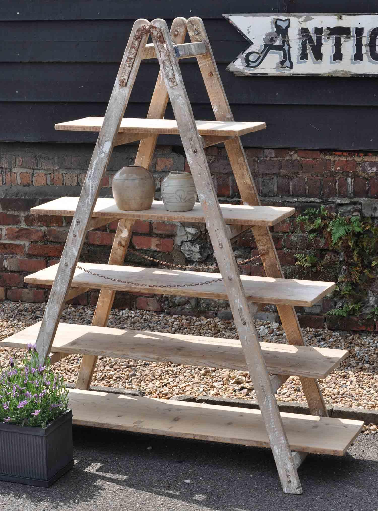 Vintage Reclaimed Ladder Shelves Home Barn S Rustic Shelving