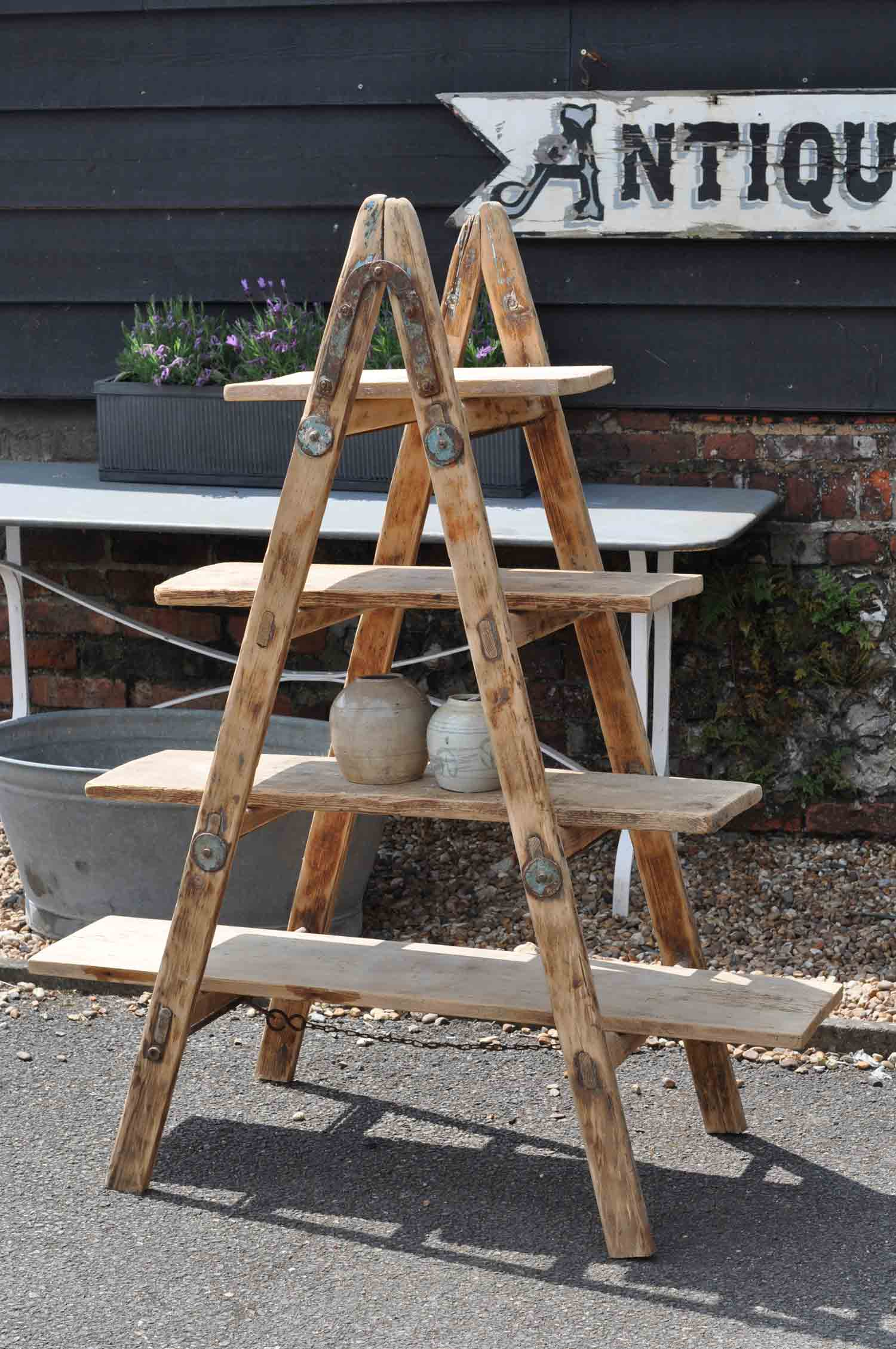 Vintage Reclaimed Ladder Shelves Rustic Shelving Home