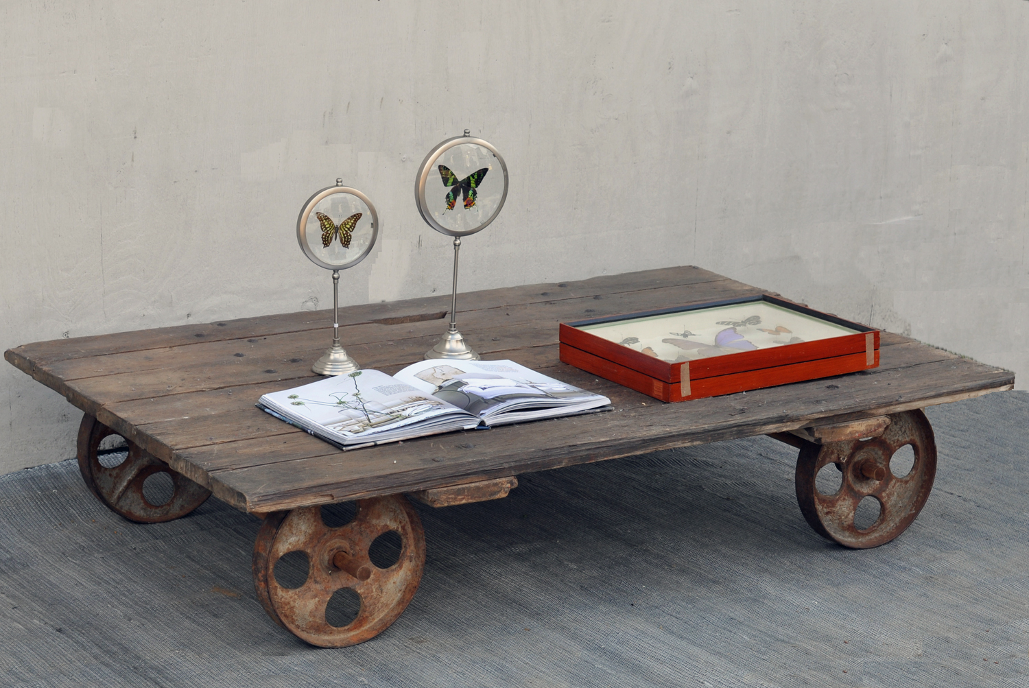 Vintage Rustic Timber Door Coffee Table On Industrial Wheels Home Barn Vintage
