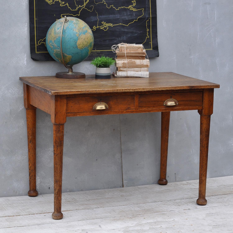 Vintage Office Desk. Vintage Solid Oak 1930\u0027s Office Desk \u2013 Two  Drawers