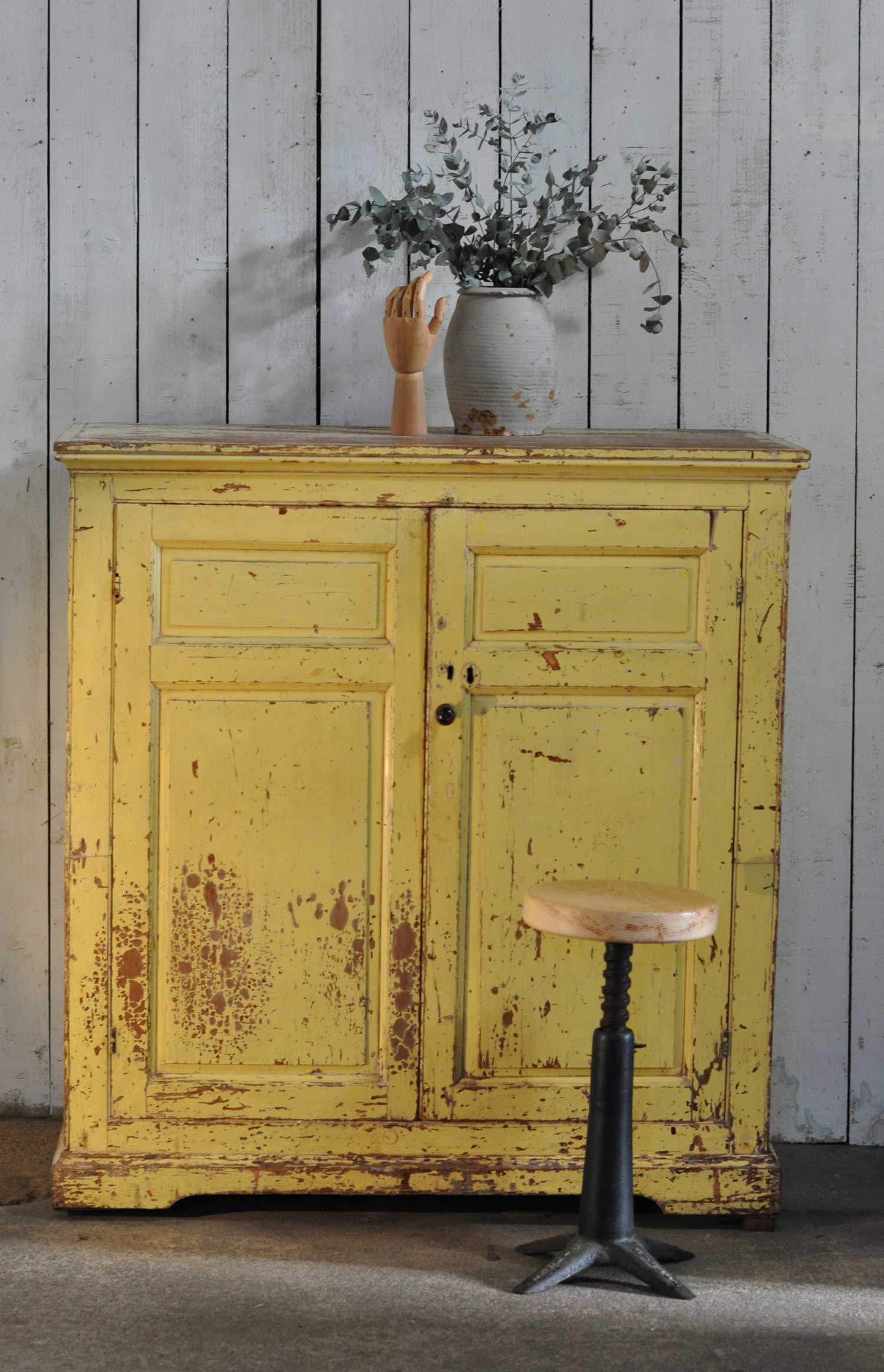 Vintage Solid Wood Yellow Cupboard Original Patina