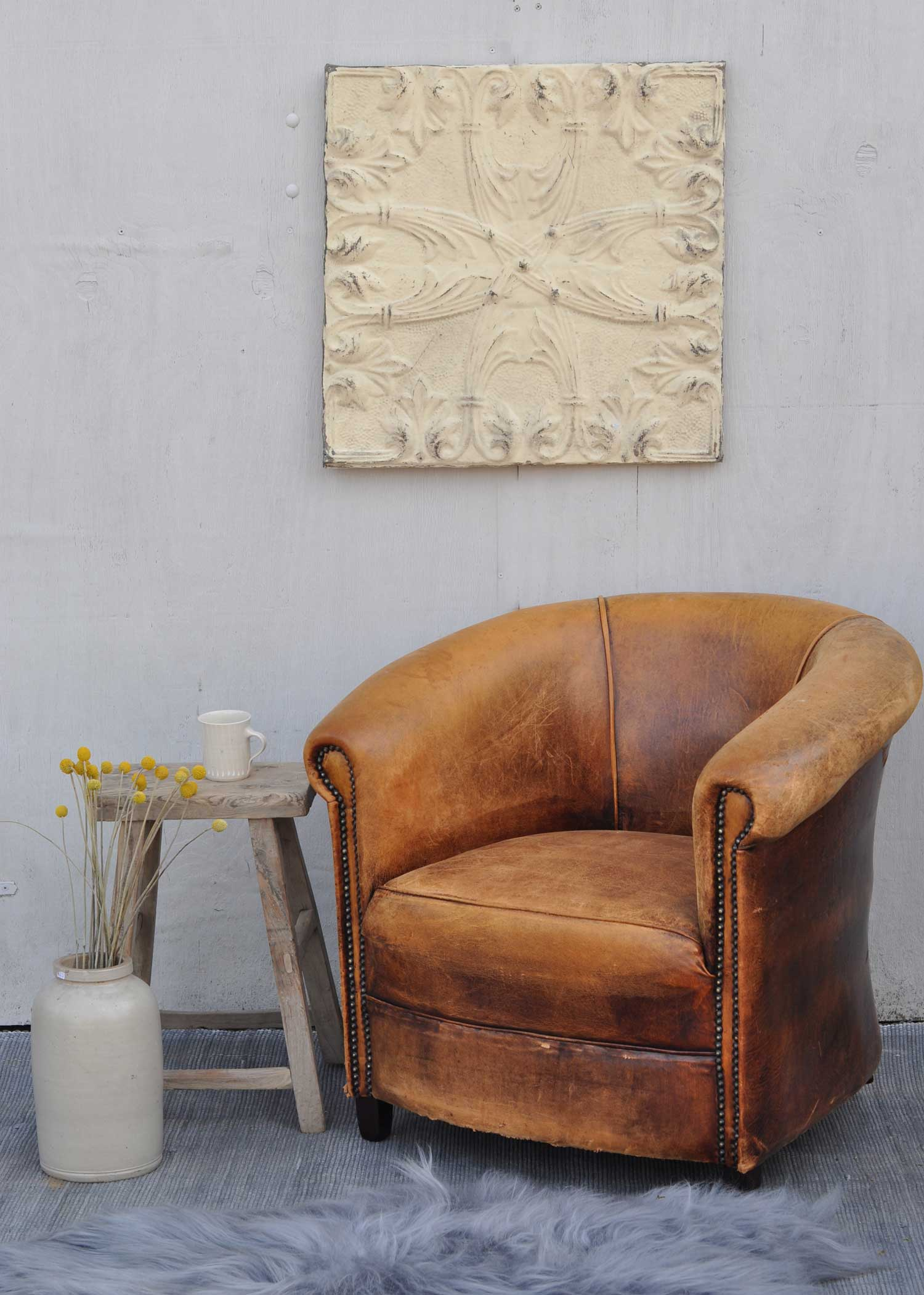 Vintage Worn French Leather Club Chair With Arms Home Barn Vintage