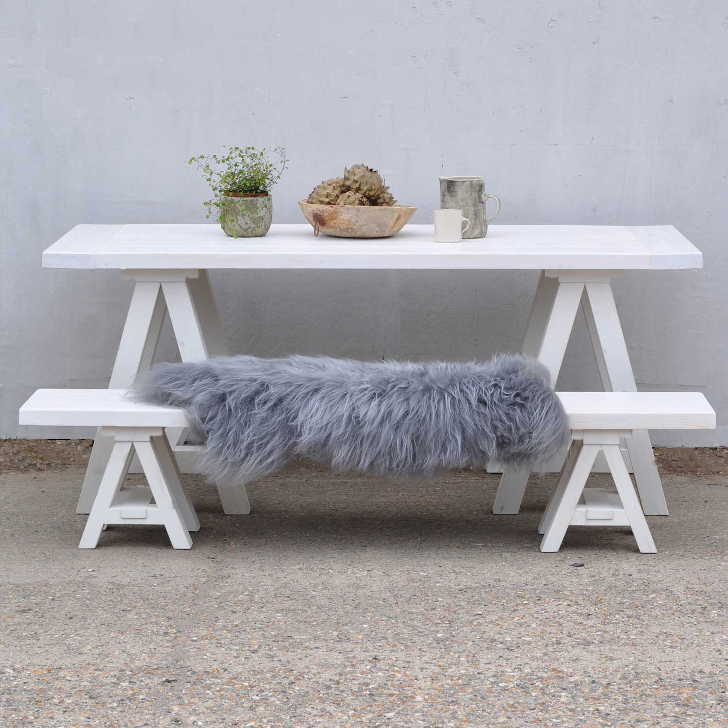 Scandinavian Inspired white wash solid timber trestle base table